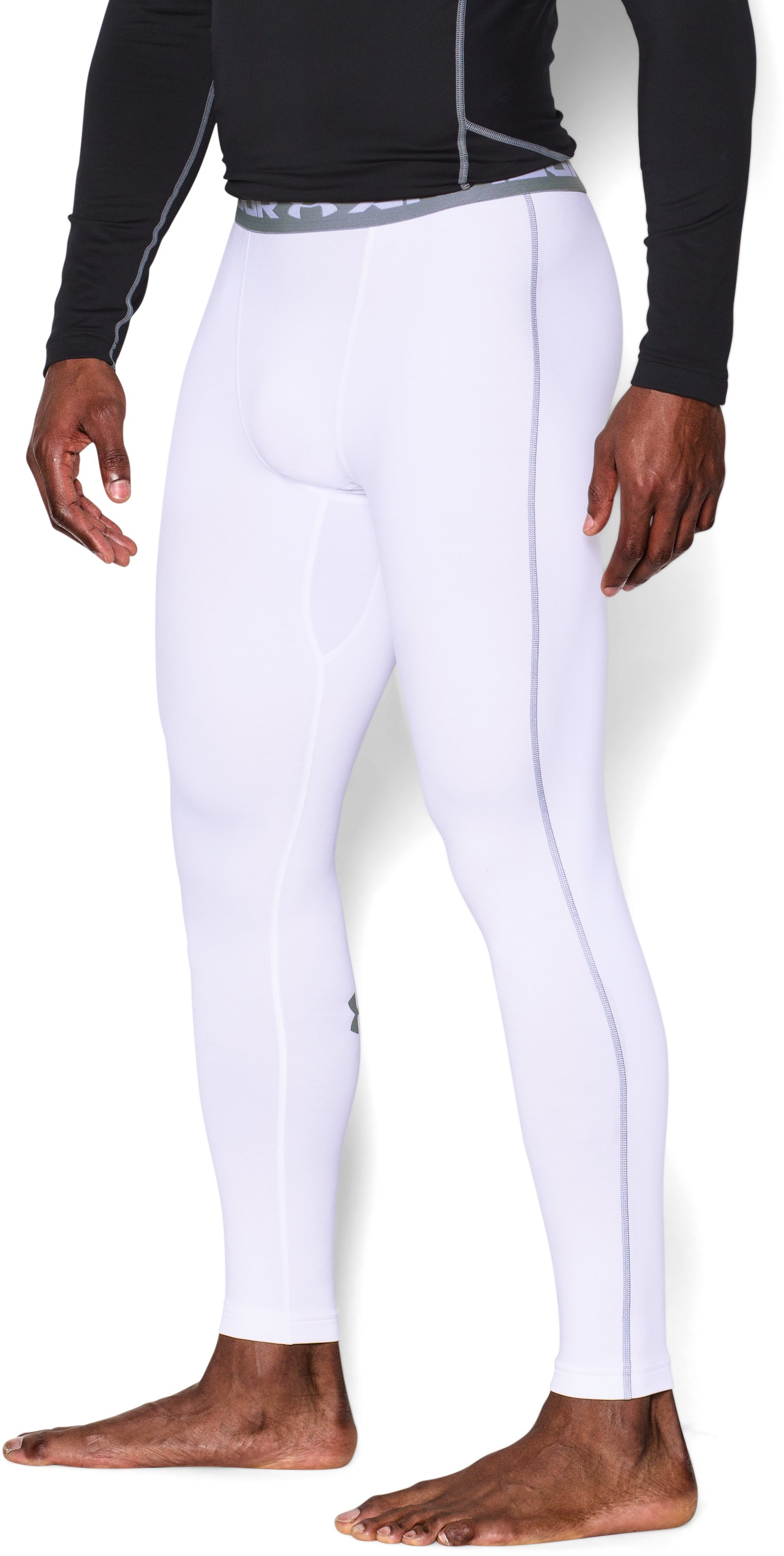 Men's UA ColdGear® Armour Compression Leggings, White, undefined