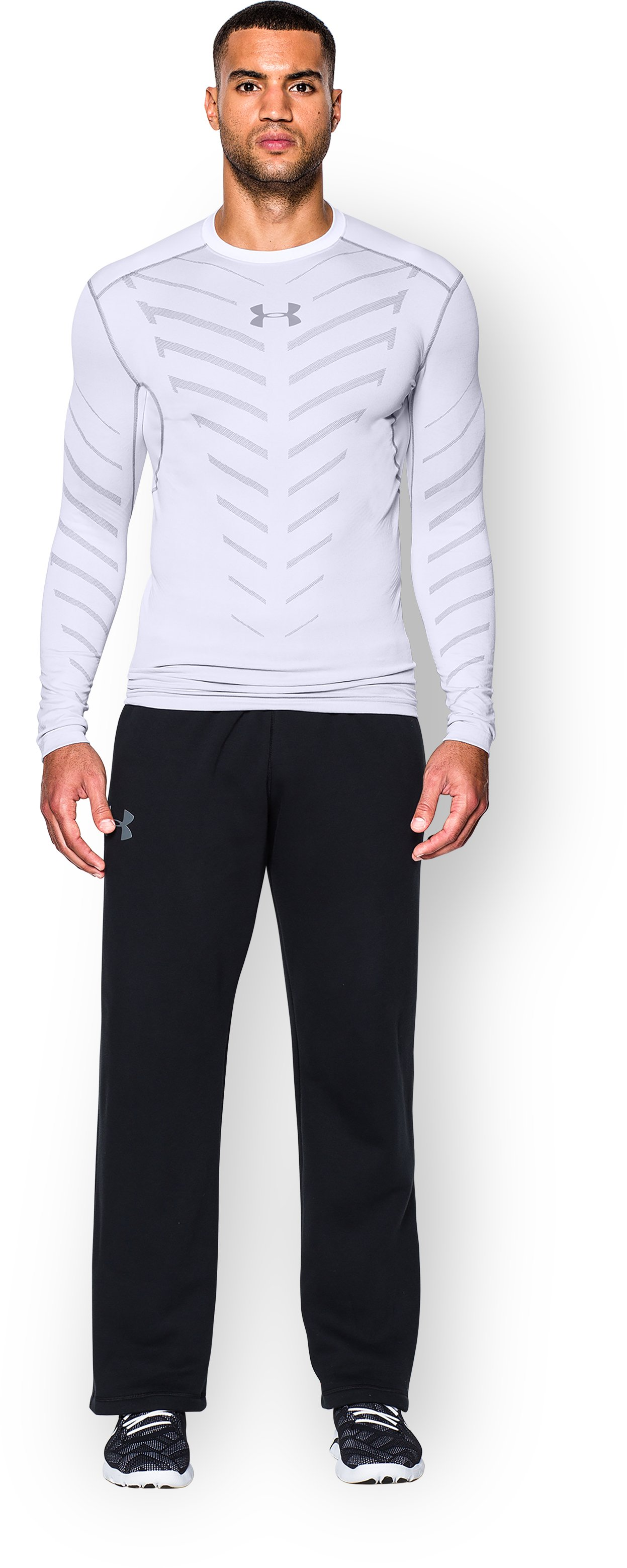 Men's UA ColdGear® Infrared Armour Compression Crew, White, Front