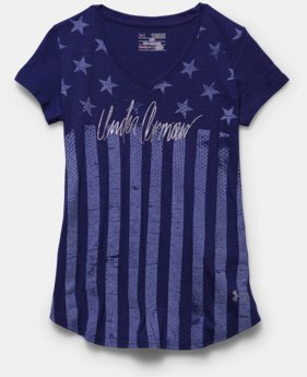 Girls' UA Charged Cotton Tri-Blend Stars & Stripes V-Neck
