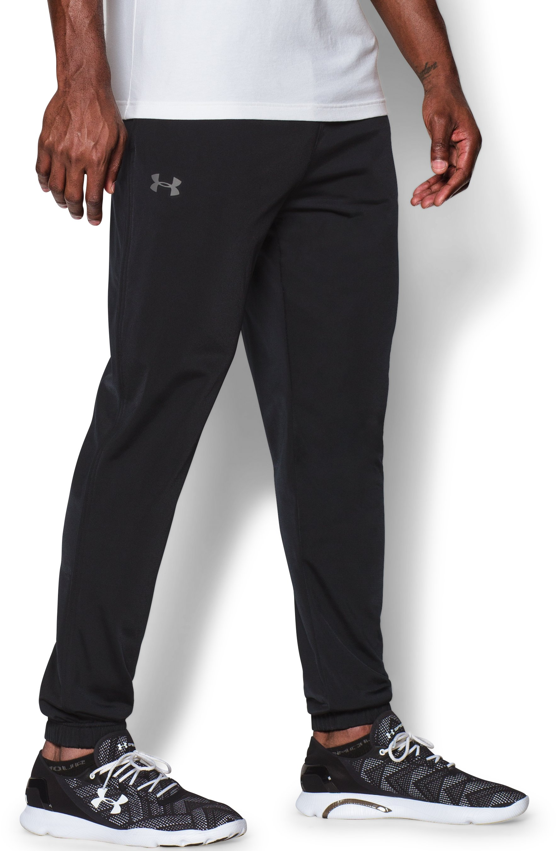 Men's UA Relentless Warm-Up Pants — Tapered Leg, Black