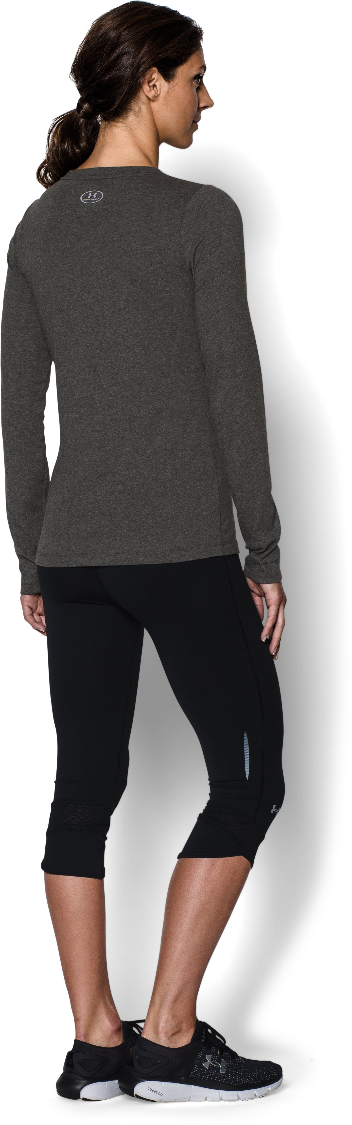 Women's UA Camo Logo Long Sleeve , Carbon Heather, Back