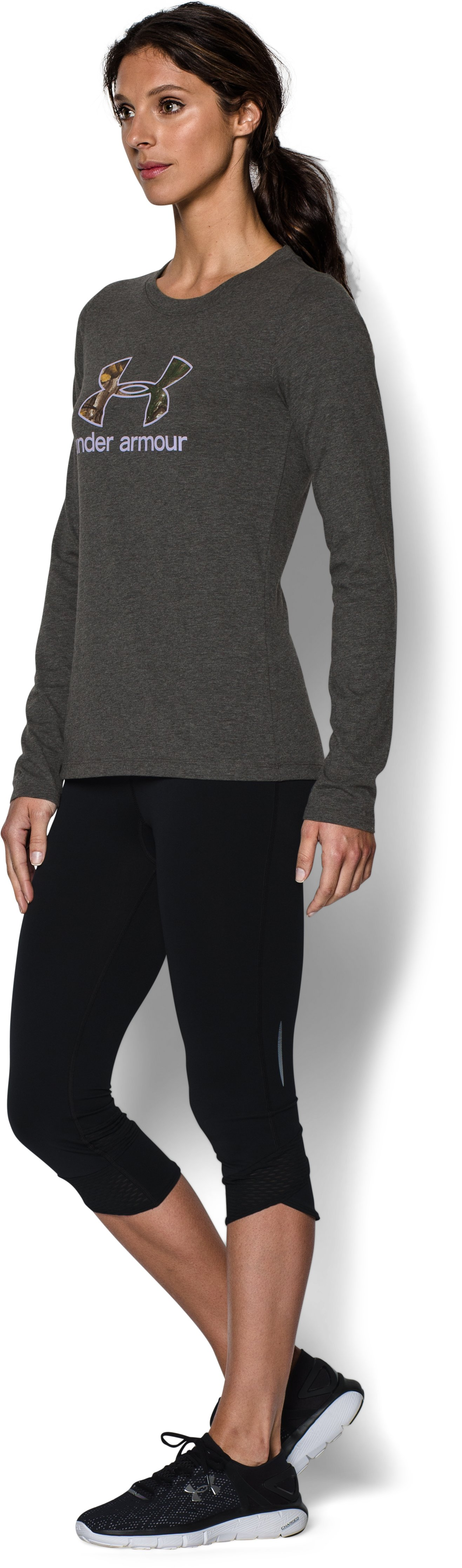 Women's UA Camo Logo Long Sleeve , Carbon Heather, undefined