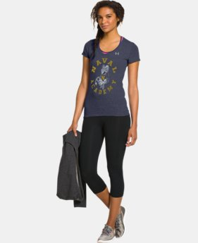 Women's Under Armour® Legacy Navy Charged Cotton Tri-Blend V-Neck