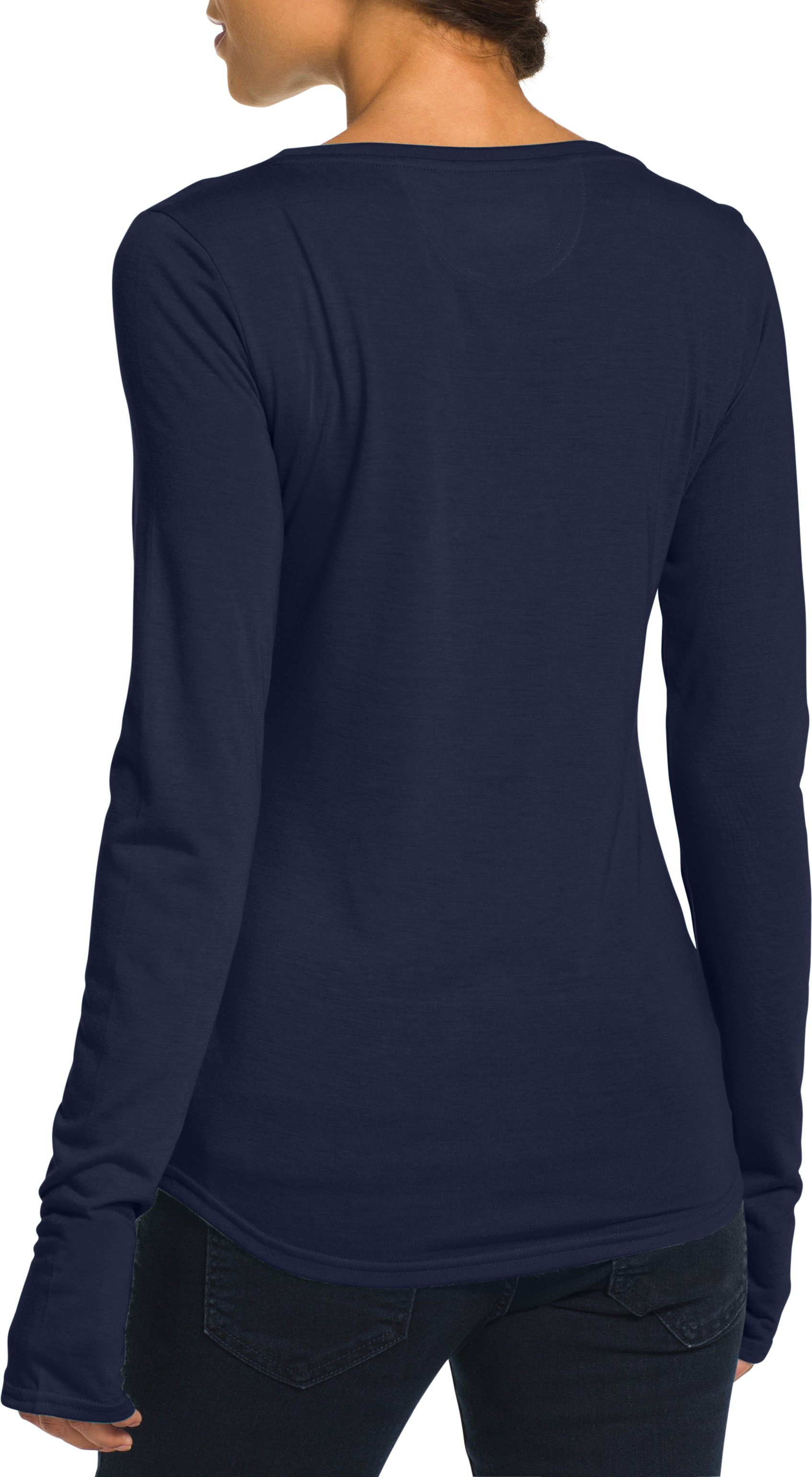 Women's Notre Dame UA V-Neck, Midnight Navy, Back