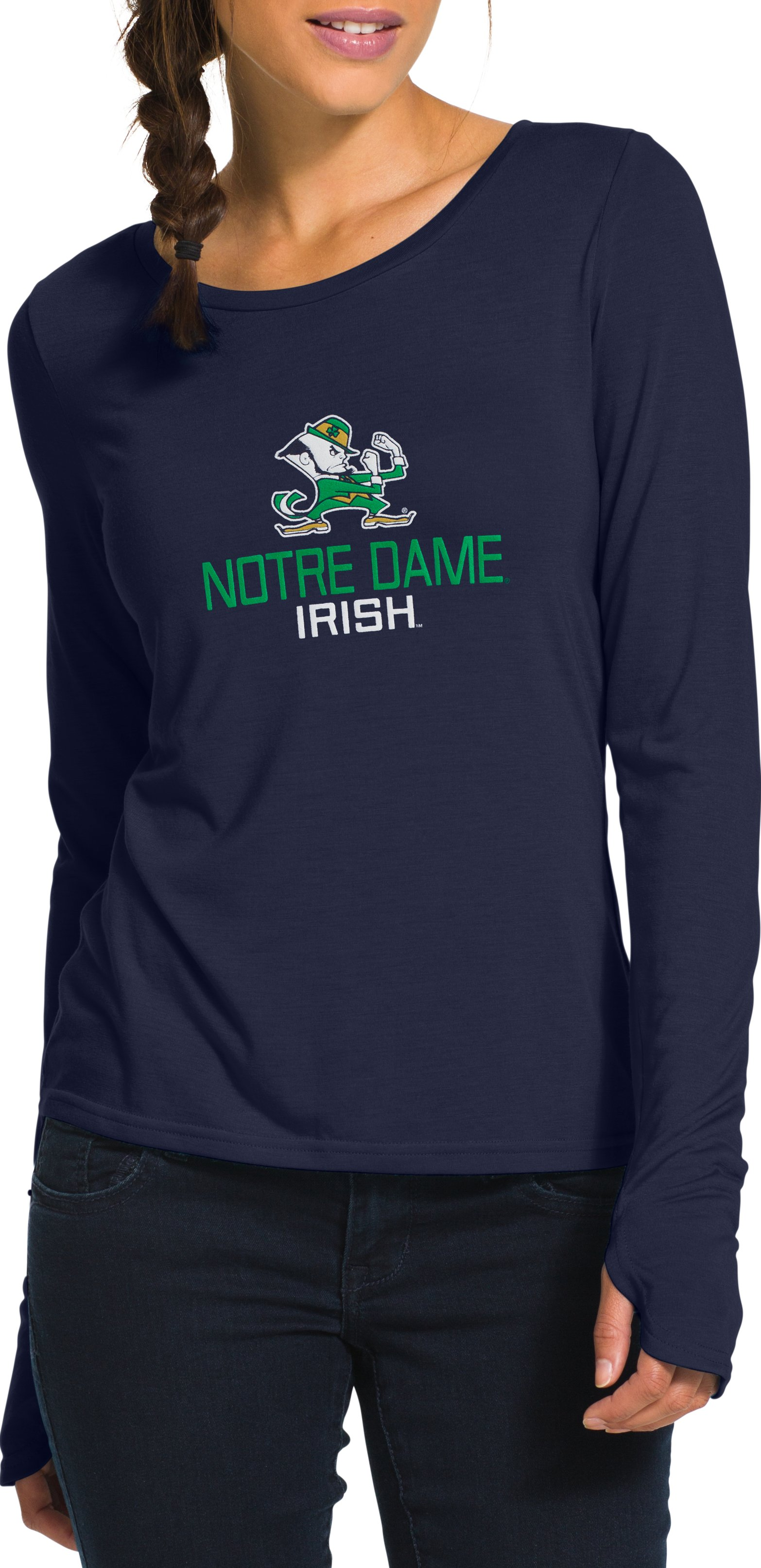 Women's Notre Dame UA V-Neck, Midnight Navy, Front