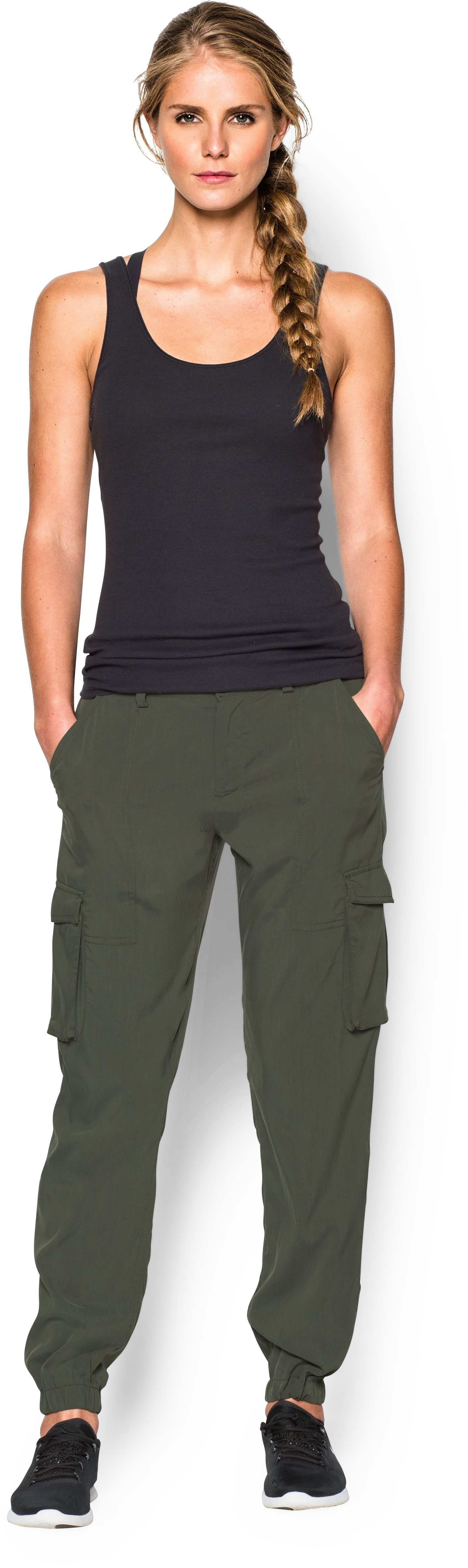Women's UA Slim Air Woven Cargo Pants, DOWNTOWN GREEN, Front
