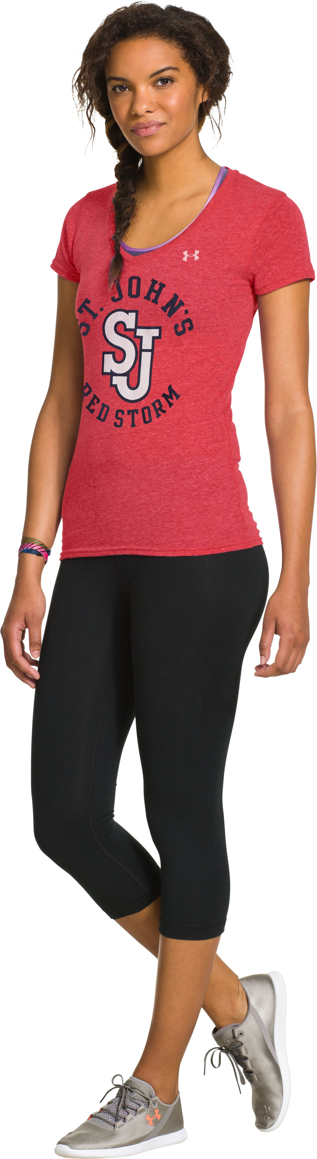 Women's Under Armour® Legacy St Johns Charged Cotton Tri-Blend V-Neck, Red