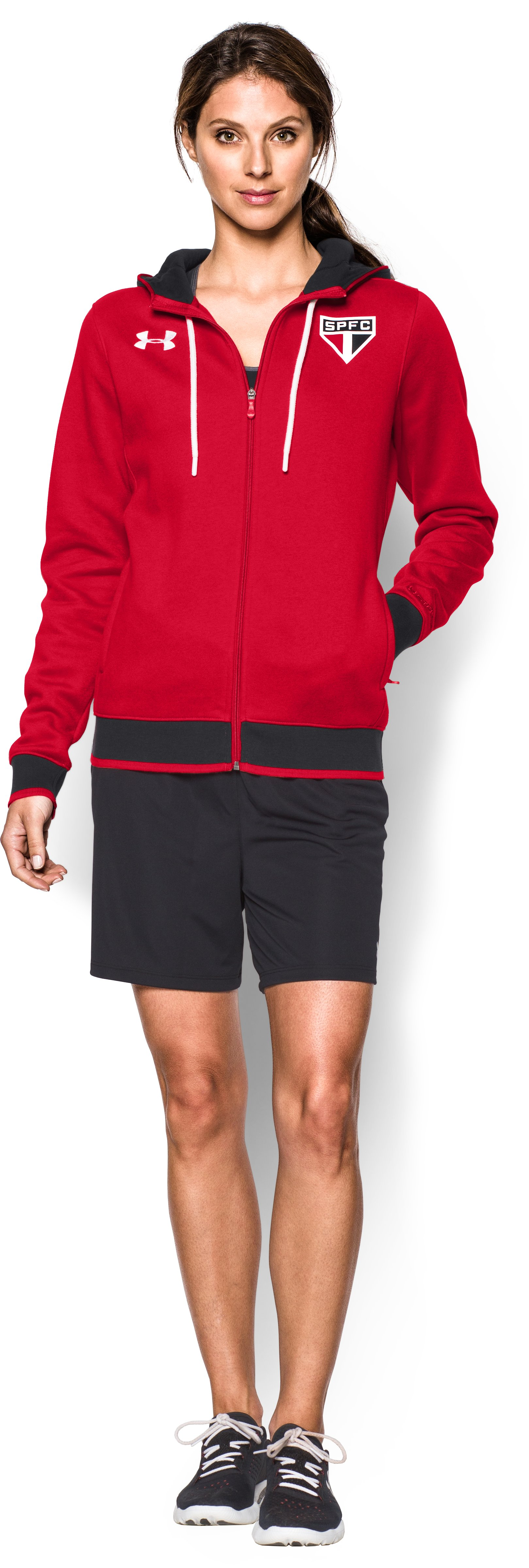 Women's Sao Paulo 15/16 Storm Full Zip Hoodie, Red, Front