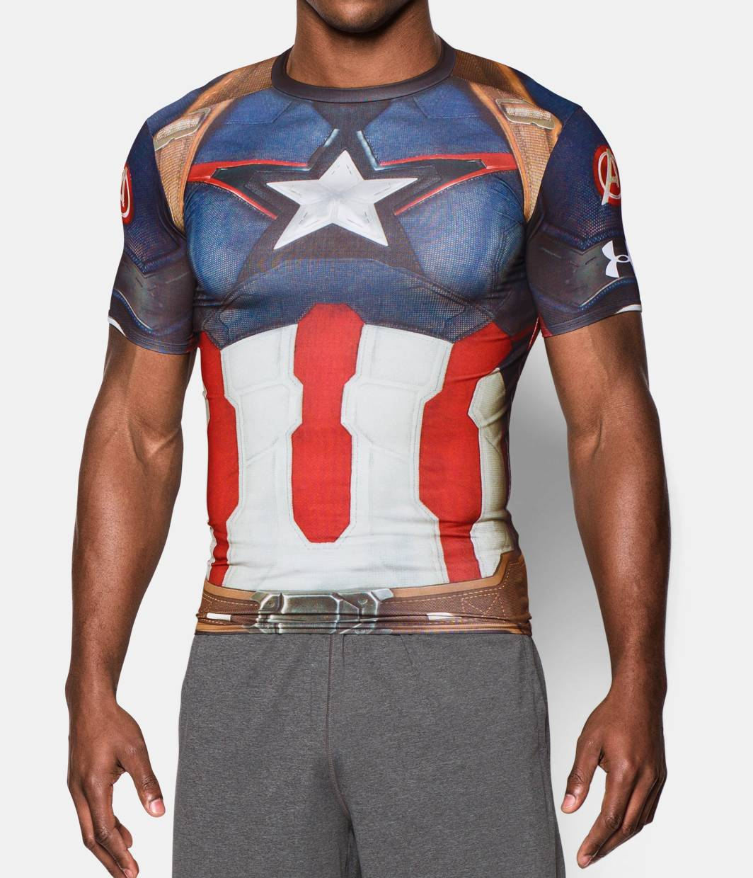 Men s under armour alter ego captain america compression for Under armour lifting shirts