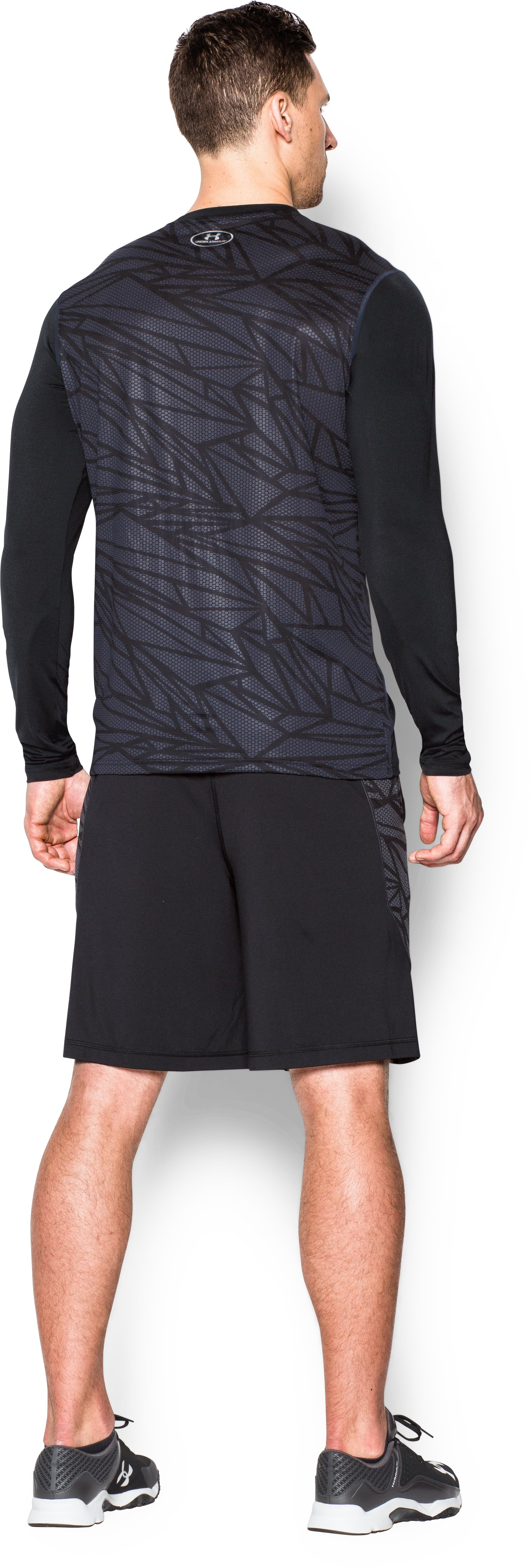 Men's UA Raid Baseball Long Sleeve Shirt, Black , Back