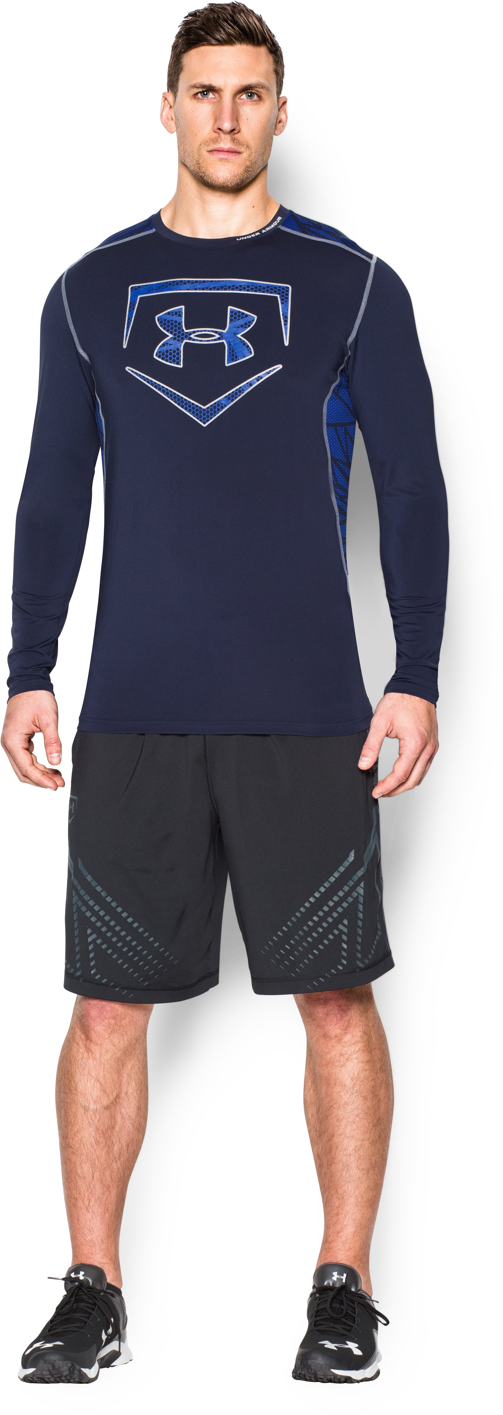 Men's UA Raid Baseball Long Sleeve Shirt, Midnight Navy, Front