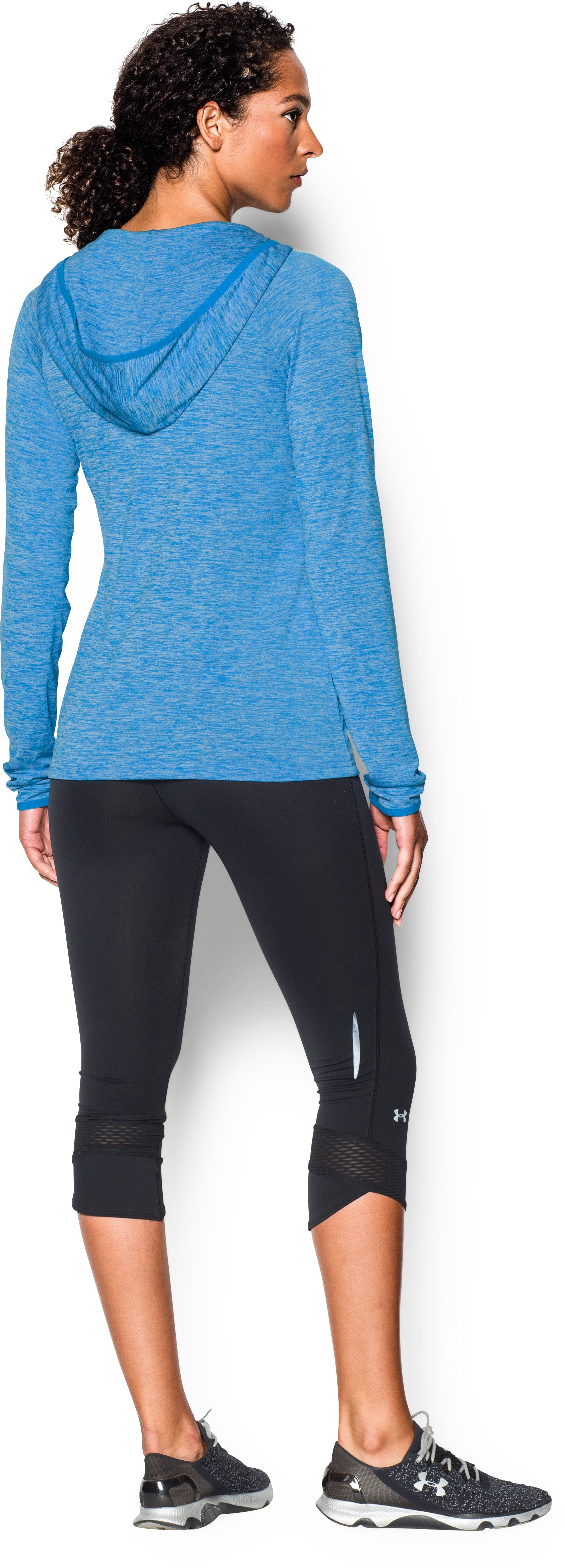 Women's UA Tech™ Long Sleeve Hooded Henley, ELECTRIC BLUE, Back