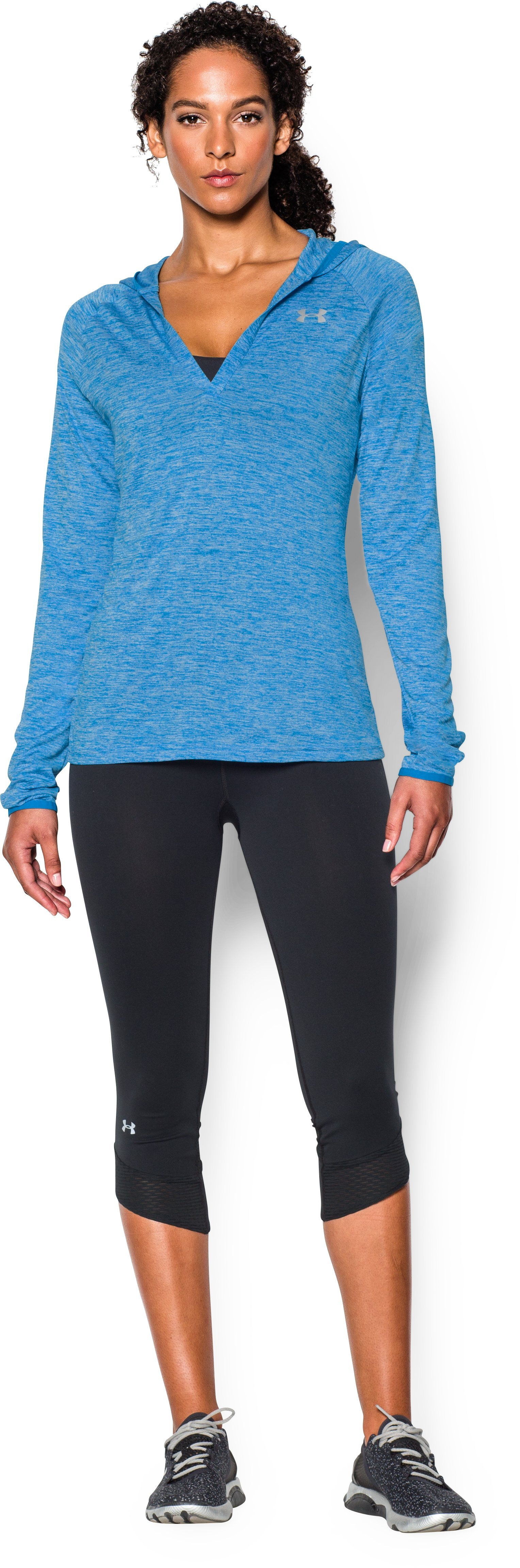 Women's UA Tech™ Long Sleeve Hooded Henley, ELECTRIC BLUE, Front