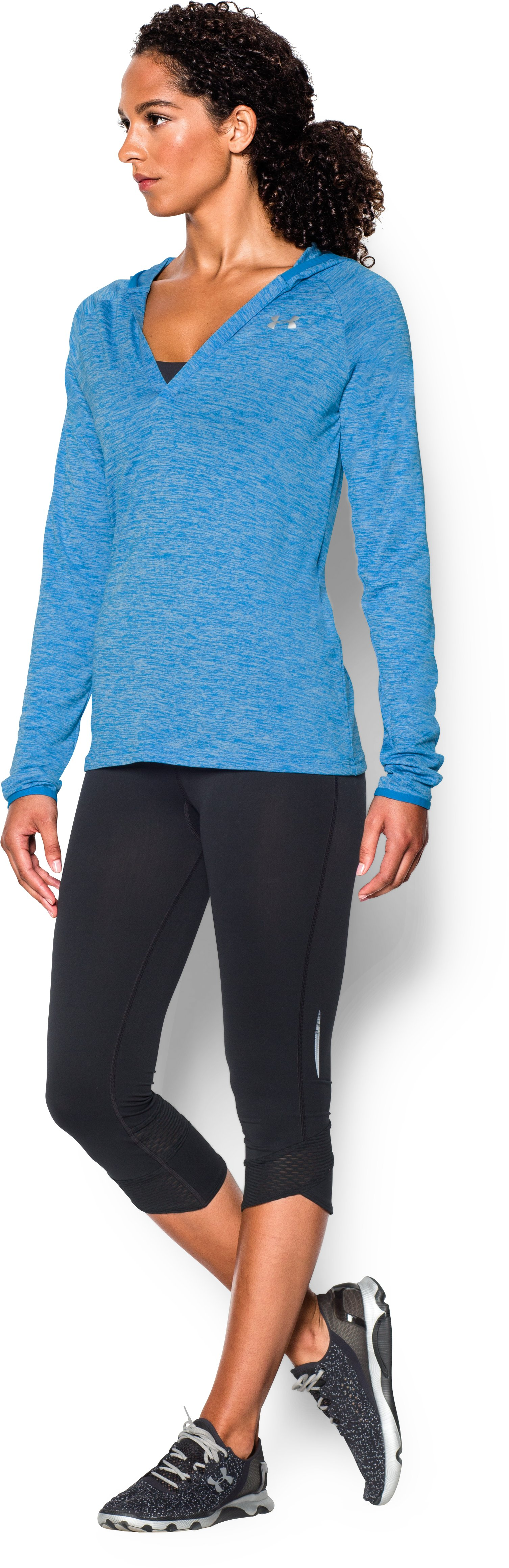 Women's UA Tech™ Long Sleeve Hooded Henley, ELECTRIC BLUE,