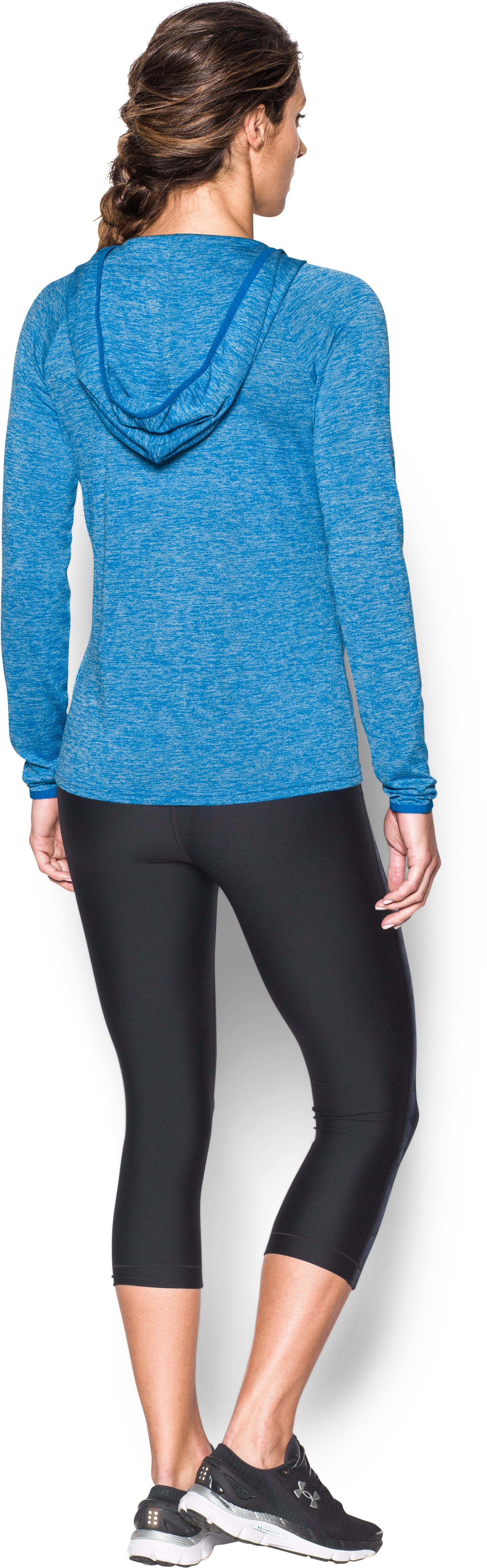 Women's UA Tech™ Long Sleeve Hooded Henley, Mediterranean, Back