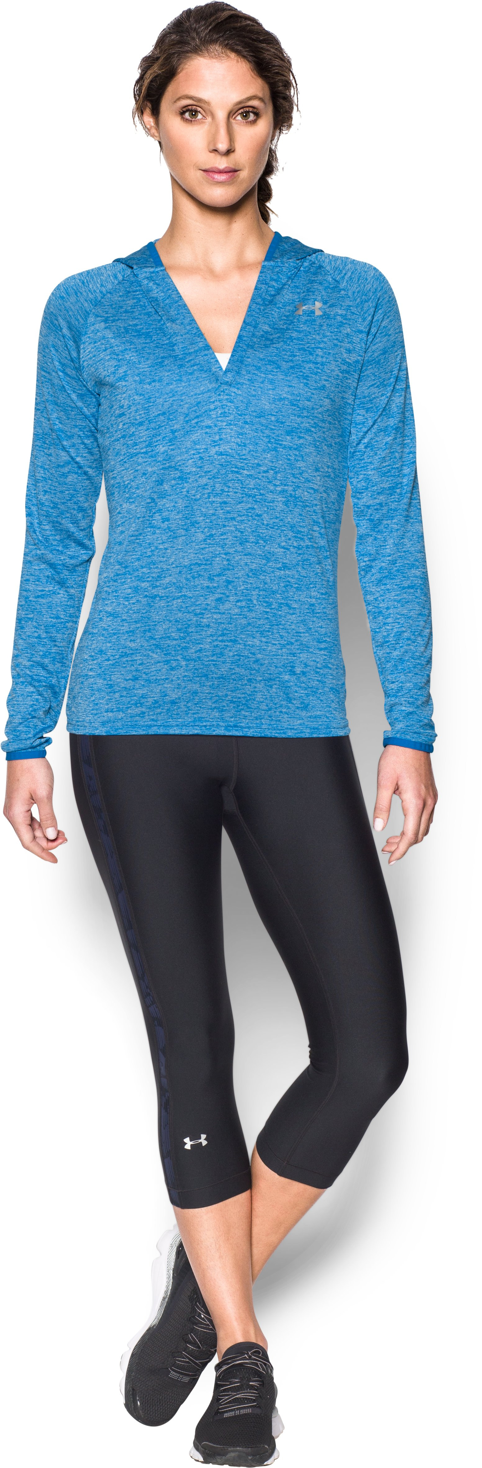 Women's UA Tech™ Long Sleeve Hooded Henley, Mediterranean, Front