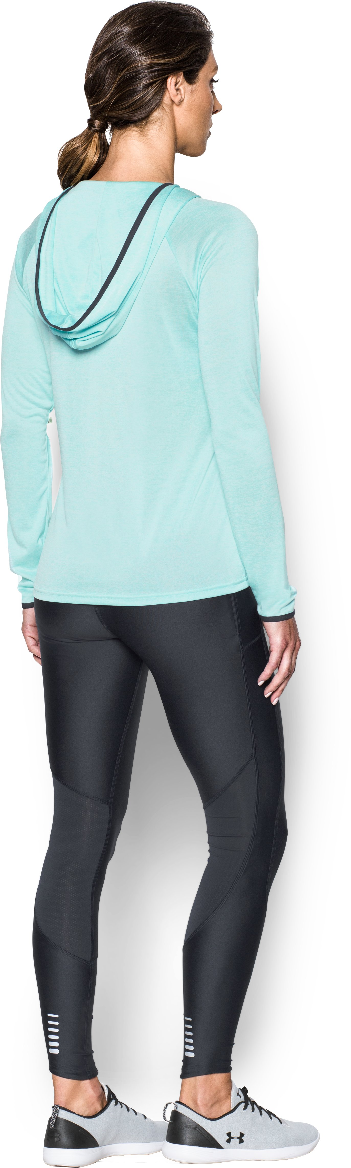 Women's UA Tech™ Long Sleeve Hooded Henley, BLUE INFINITY, Back