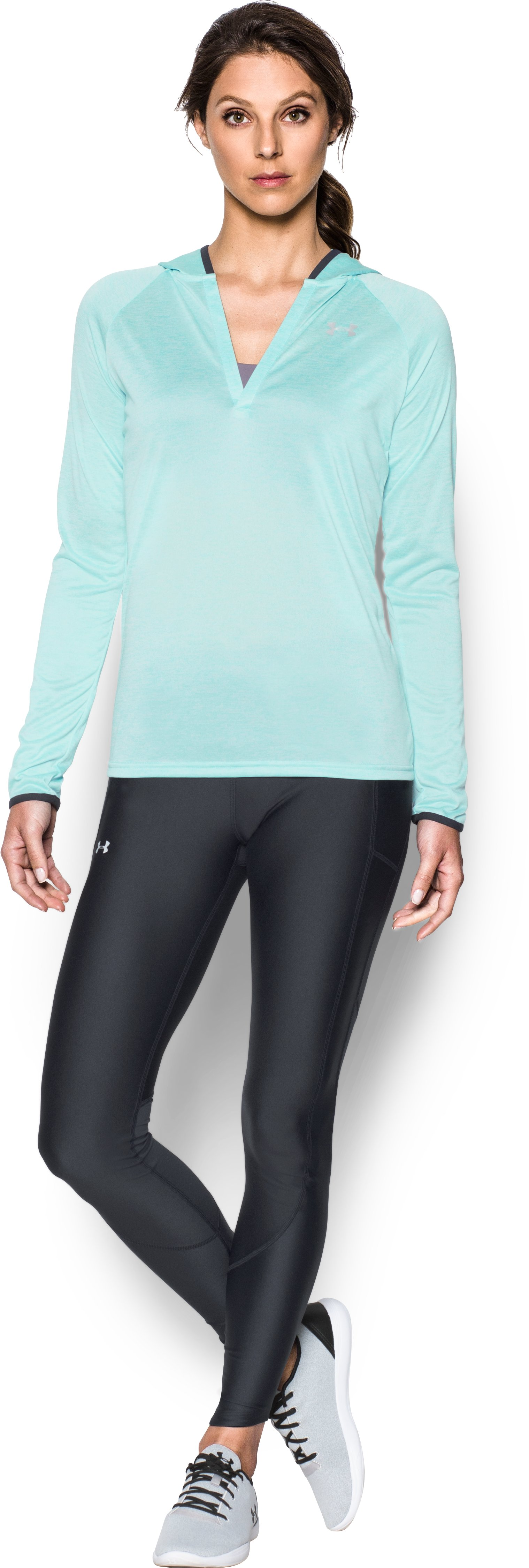 Women's UA Tech™ Long Sleeve Hooded Henley, BLUE INFINITY