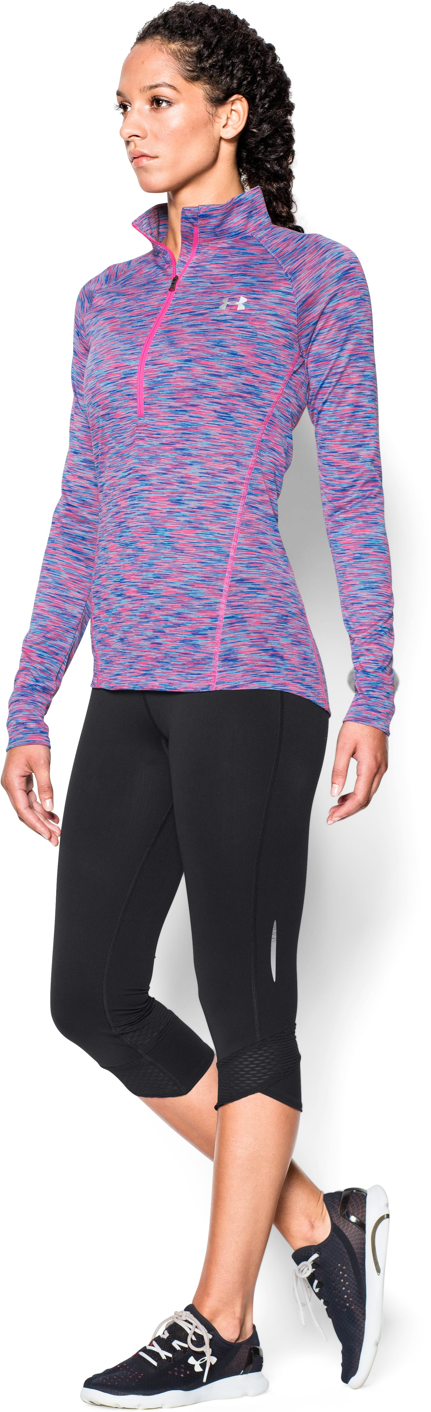 Women's UA Tech™  SpaceDye 1/2 Zip , JAZZ BLUE,