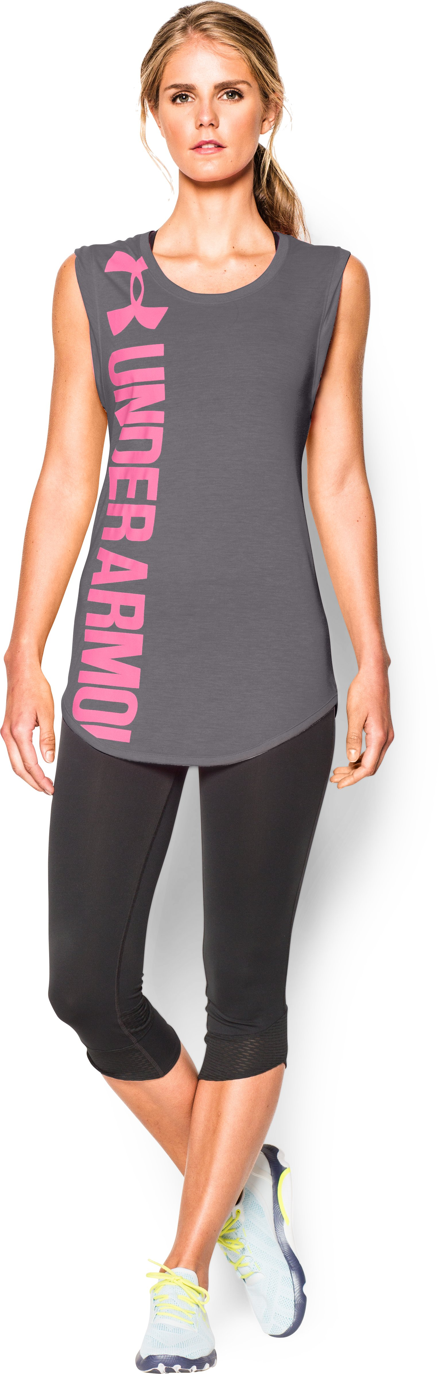 Women's UA Word Mark Back Graphic T-Shirt, Graphite, Front