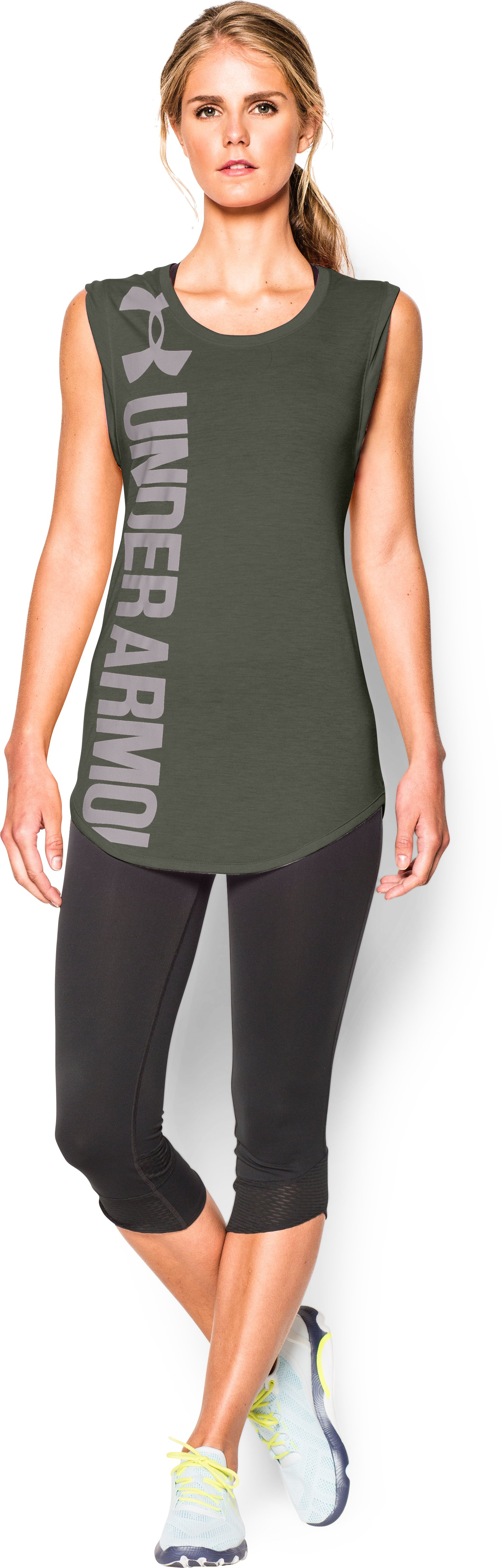 Women's UA Word Mark Back Graphic T-Shirt, DOWNTOWN GREEN, Front