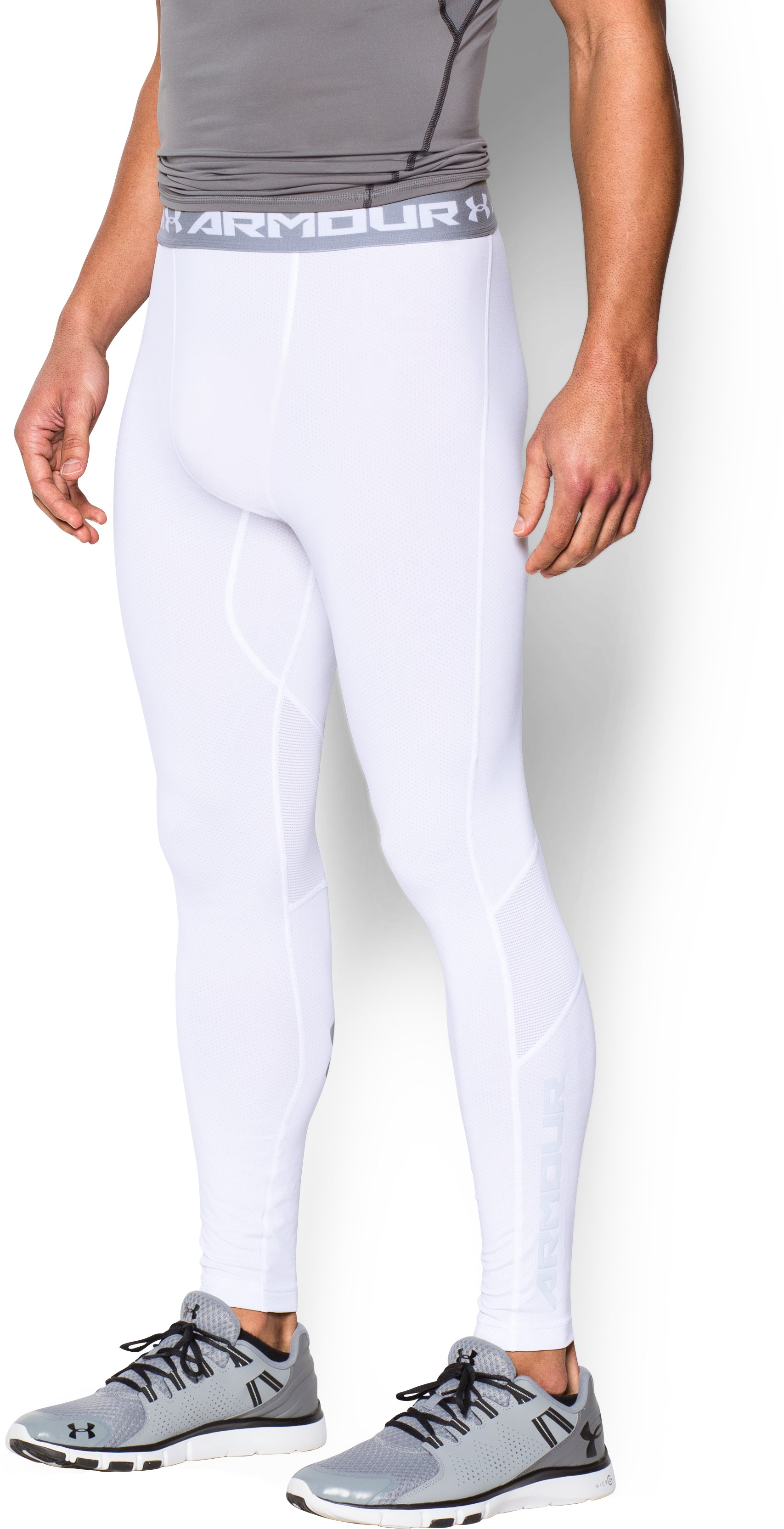 Men's UA CoolSwitch Compression Leggings, White, zoomed image
