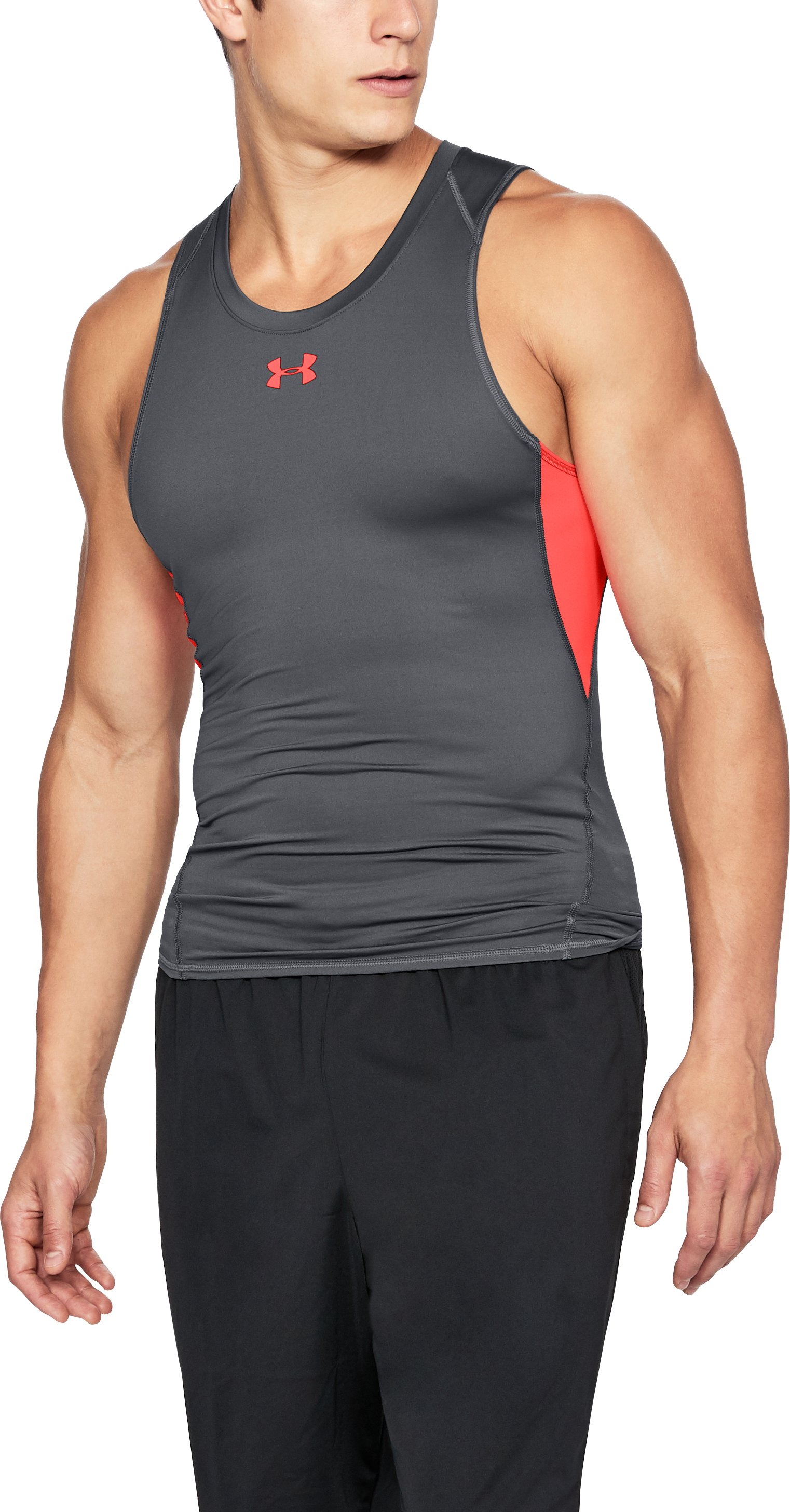 Men's UA HeatGear® Armour Compression Tank, RHINO GRAY, undefined
