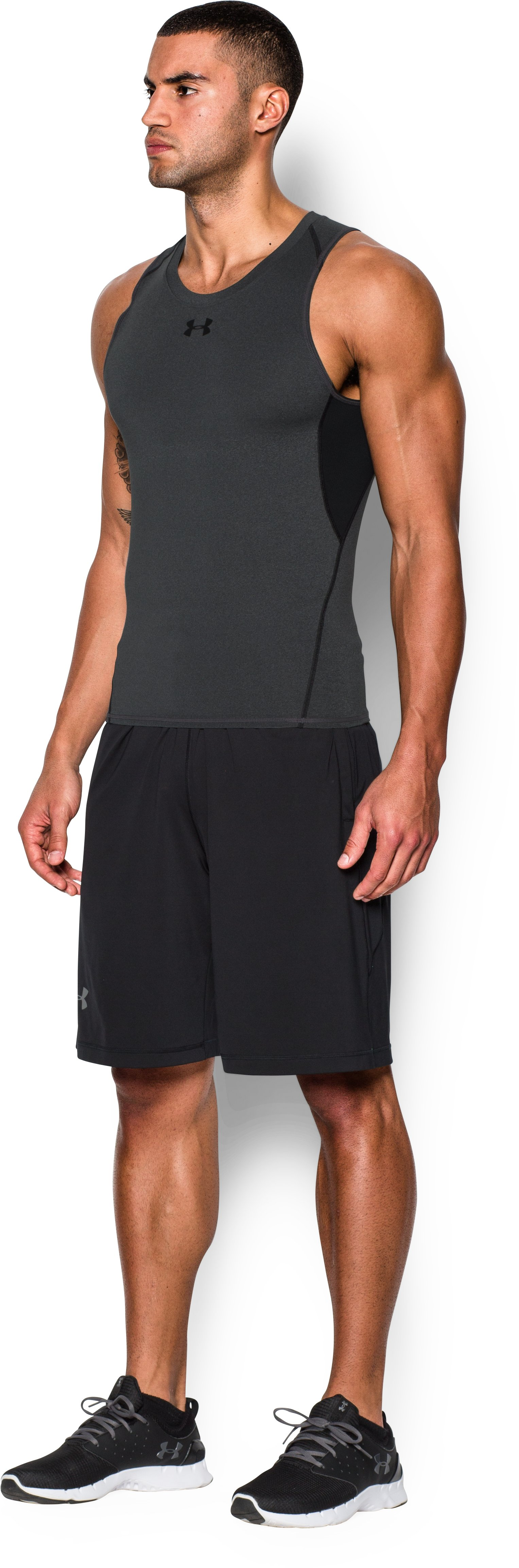 Men's UA HeatGear® Armour Compression Tank, Carbon Heather, undefined