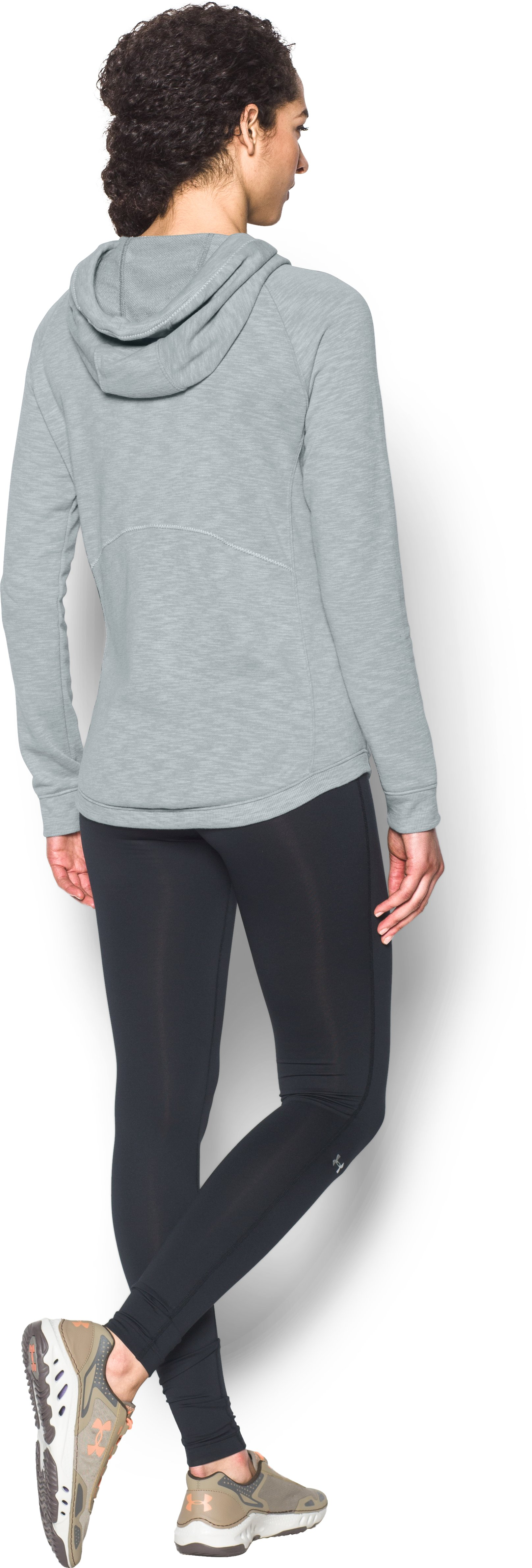 Women's UA Ocean Shoreline Terry Hoodie, True Gray Heather, Back