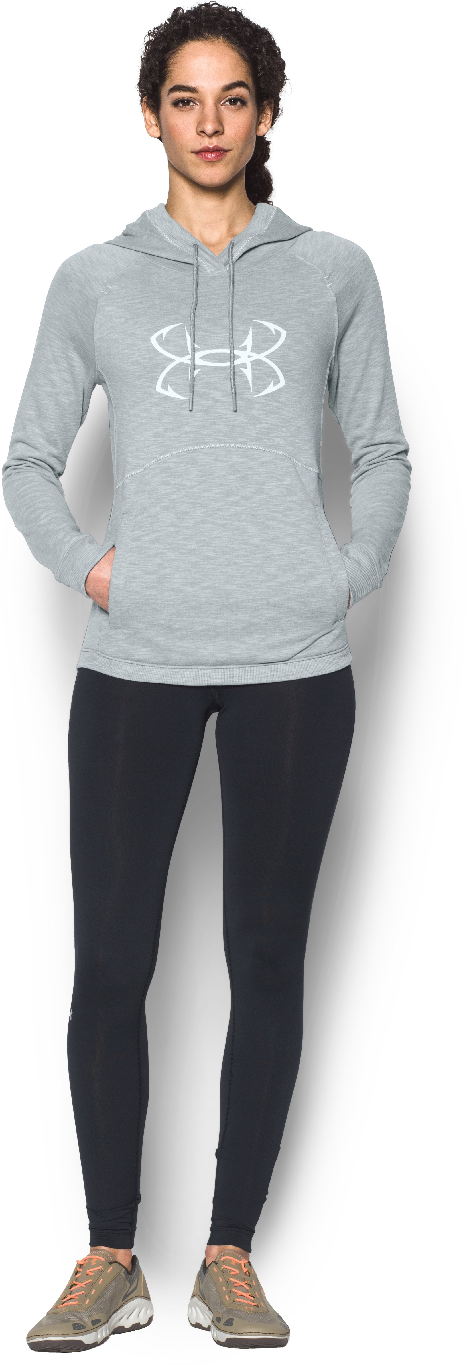 Women's UA Ocean Shoreline Terry Hoodie, True Gray Heather, Front