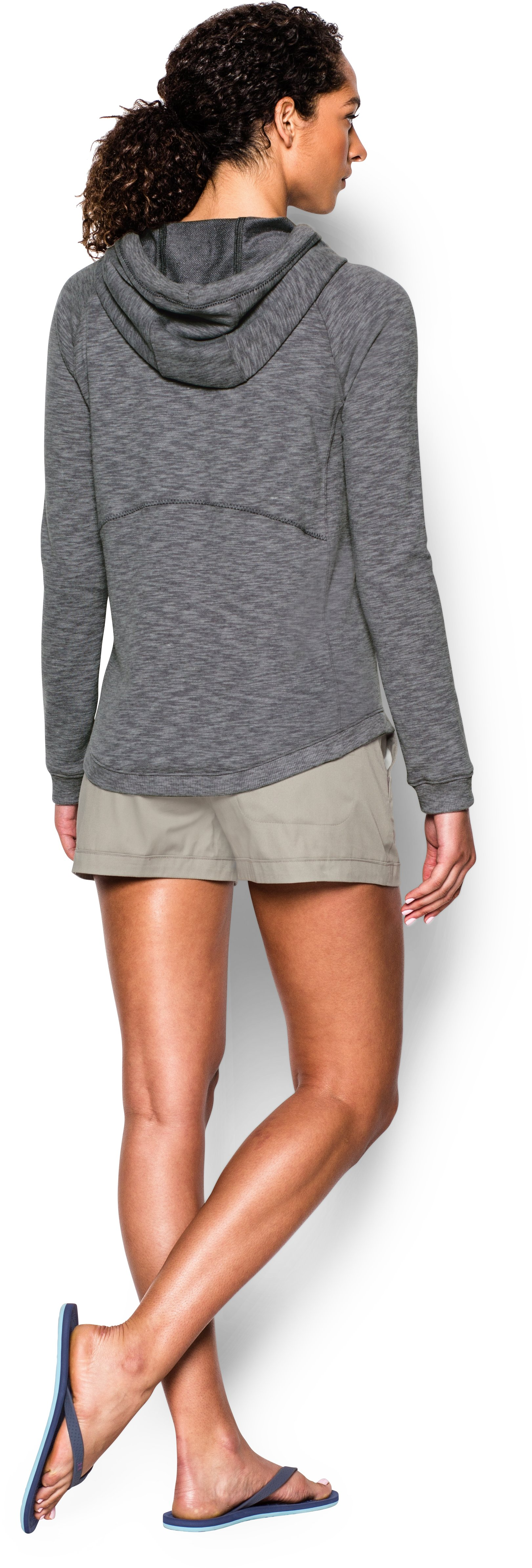 Women's UA Ocean Shoreline Terry Hoodie, Graphite, Back