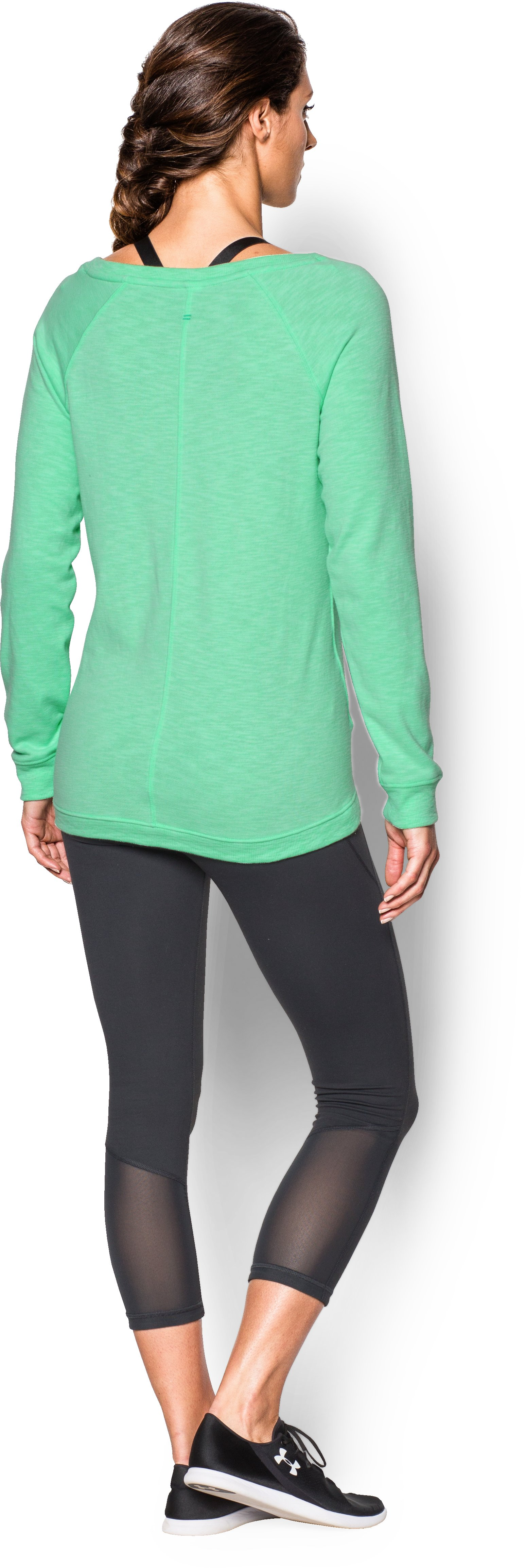 Women's UA Ocean Shoreline Terry Crew, ANTIFREEZE, Back