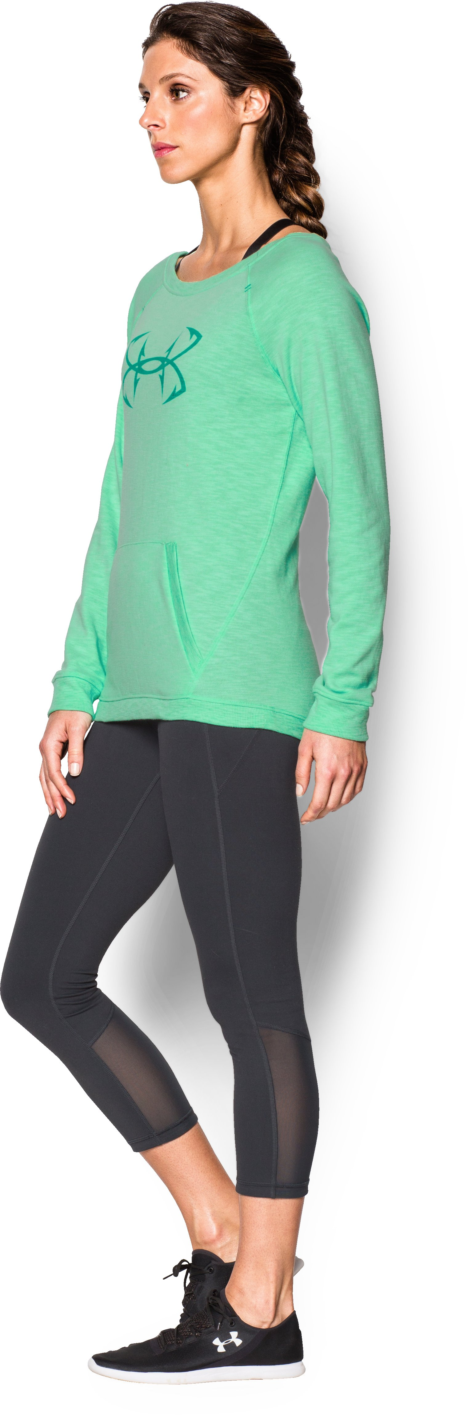 Women's UA Ocean Shoreline Terry Crew, ANTIFREEZE