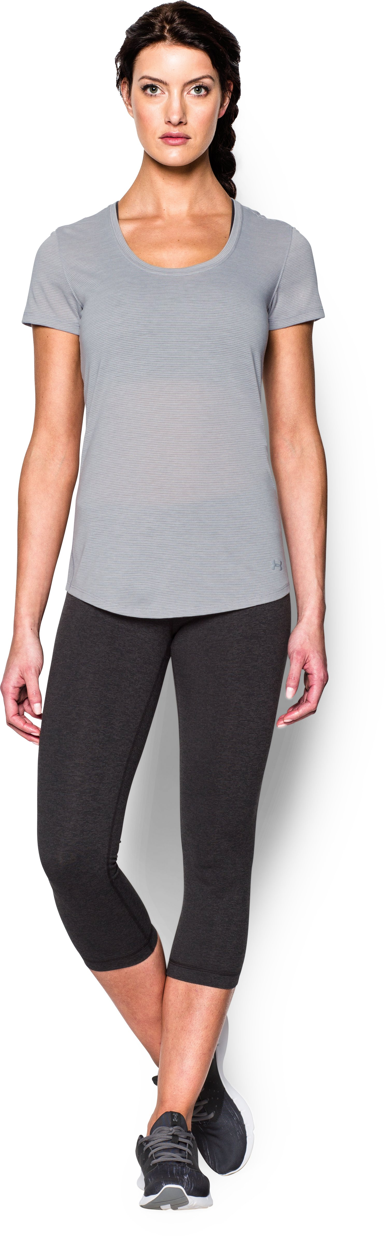Women's UA Streaker Short Sleeve, True Gray Heather