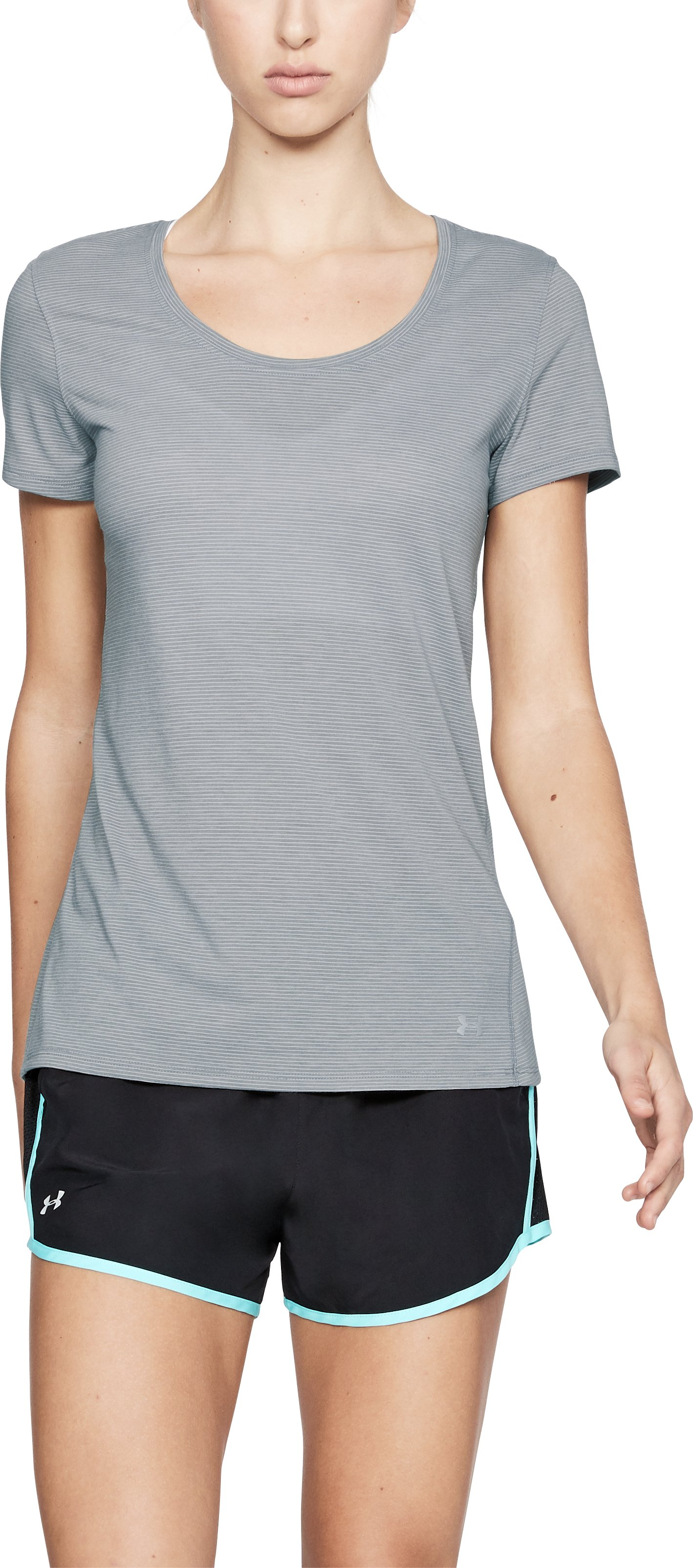 Women's UA Streaker Short Sleeve, STEEL LIGHT HEATHER,