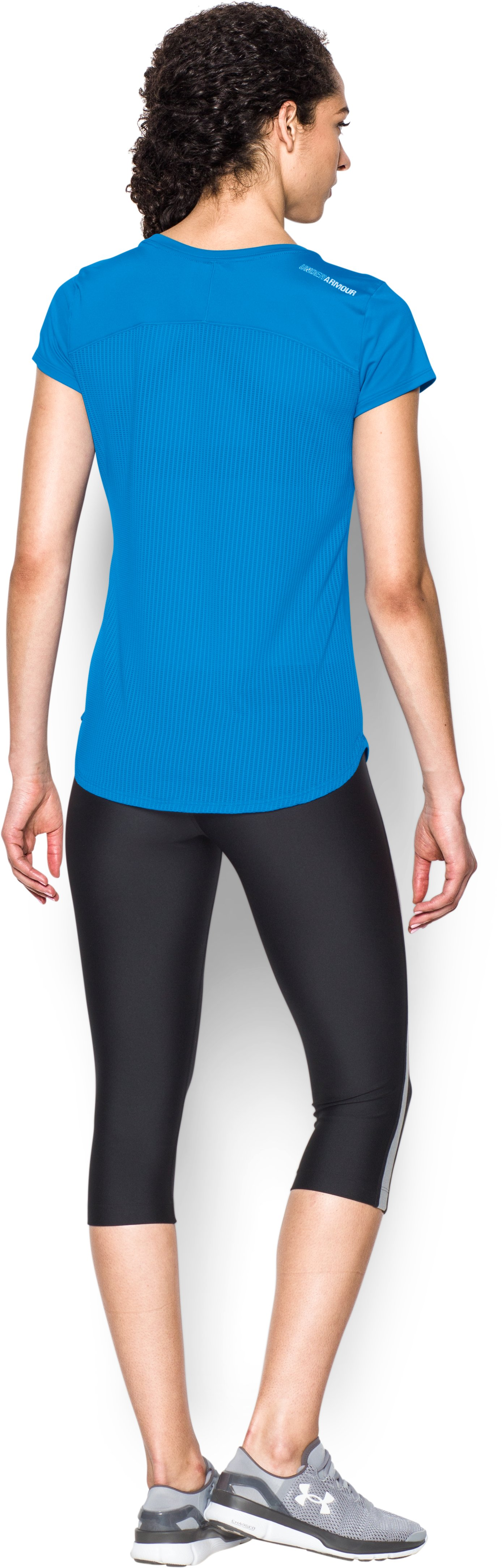 Women's UA Fly-By 2.0 Tee, Water, Back