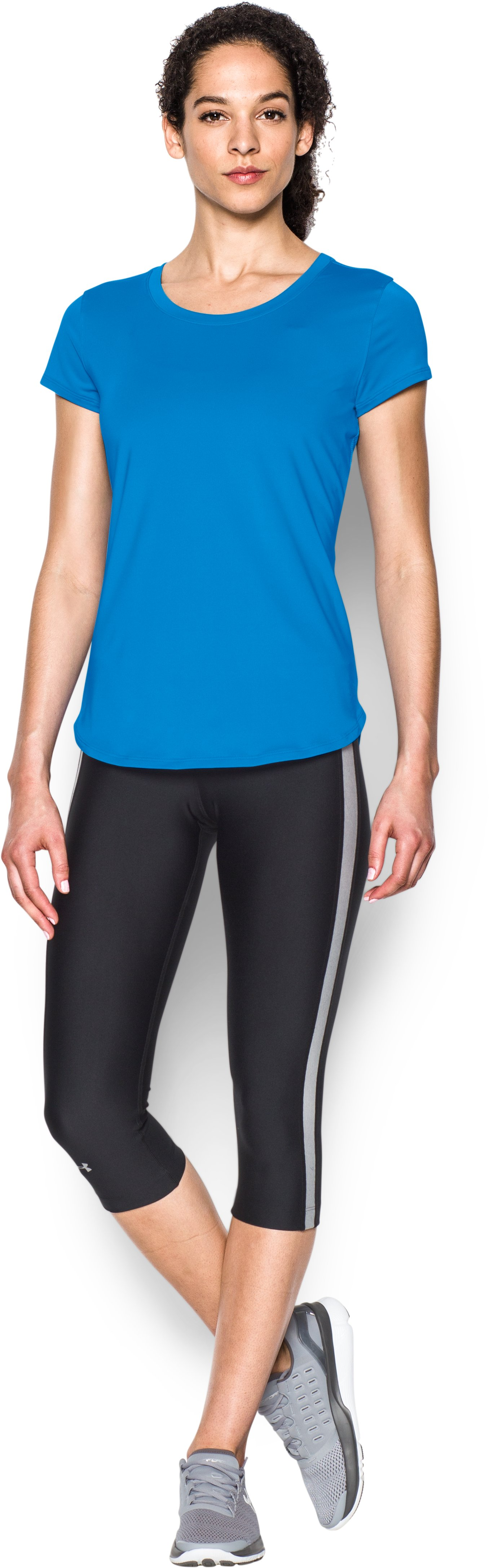 Women's UA Fly-By 2.0 Tee, Water, Front