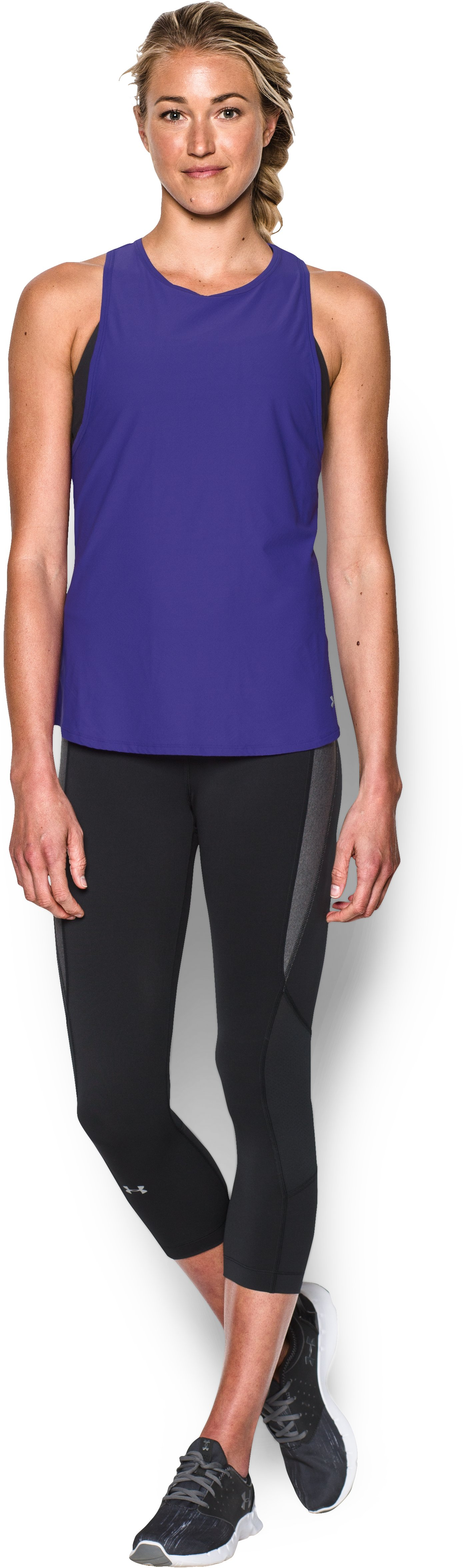 Women's UA CoolSwitch Run Tank, DEEP ORCHID, Front
