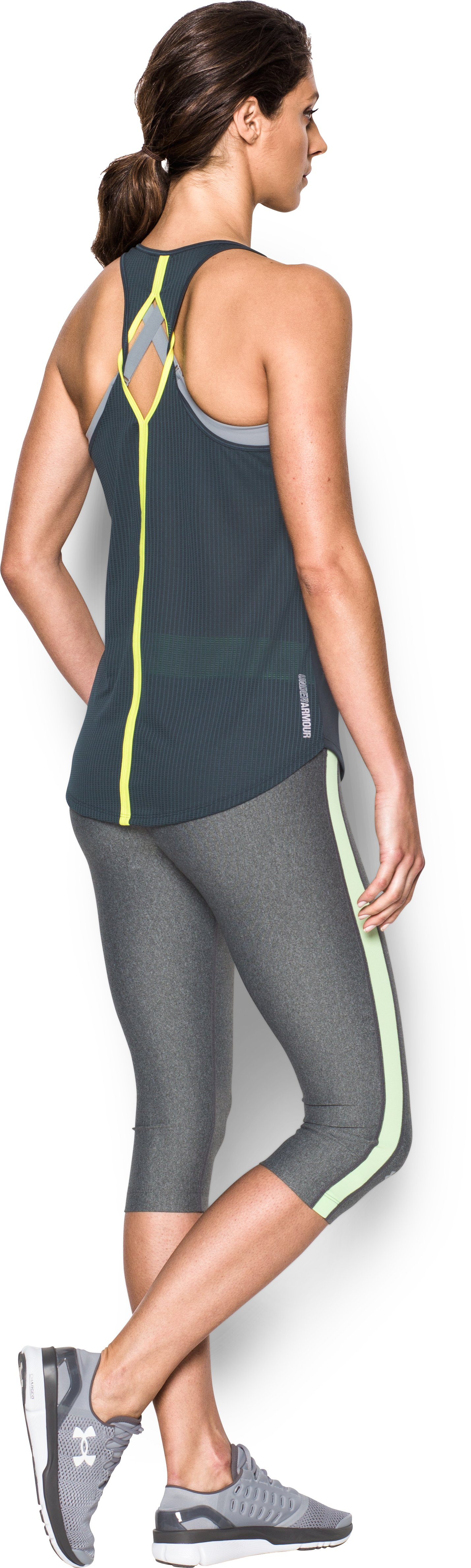 Women's UA Fly-By 2.0 Solid Tank, STEALTH GRAY, Back