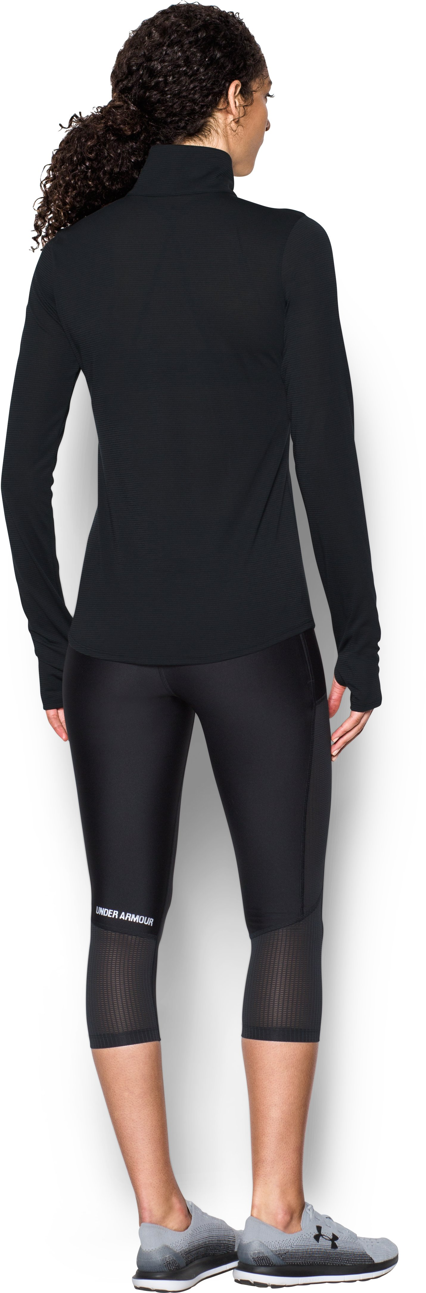 Women's UA Streaker 1/2 Zip, Black , Back