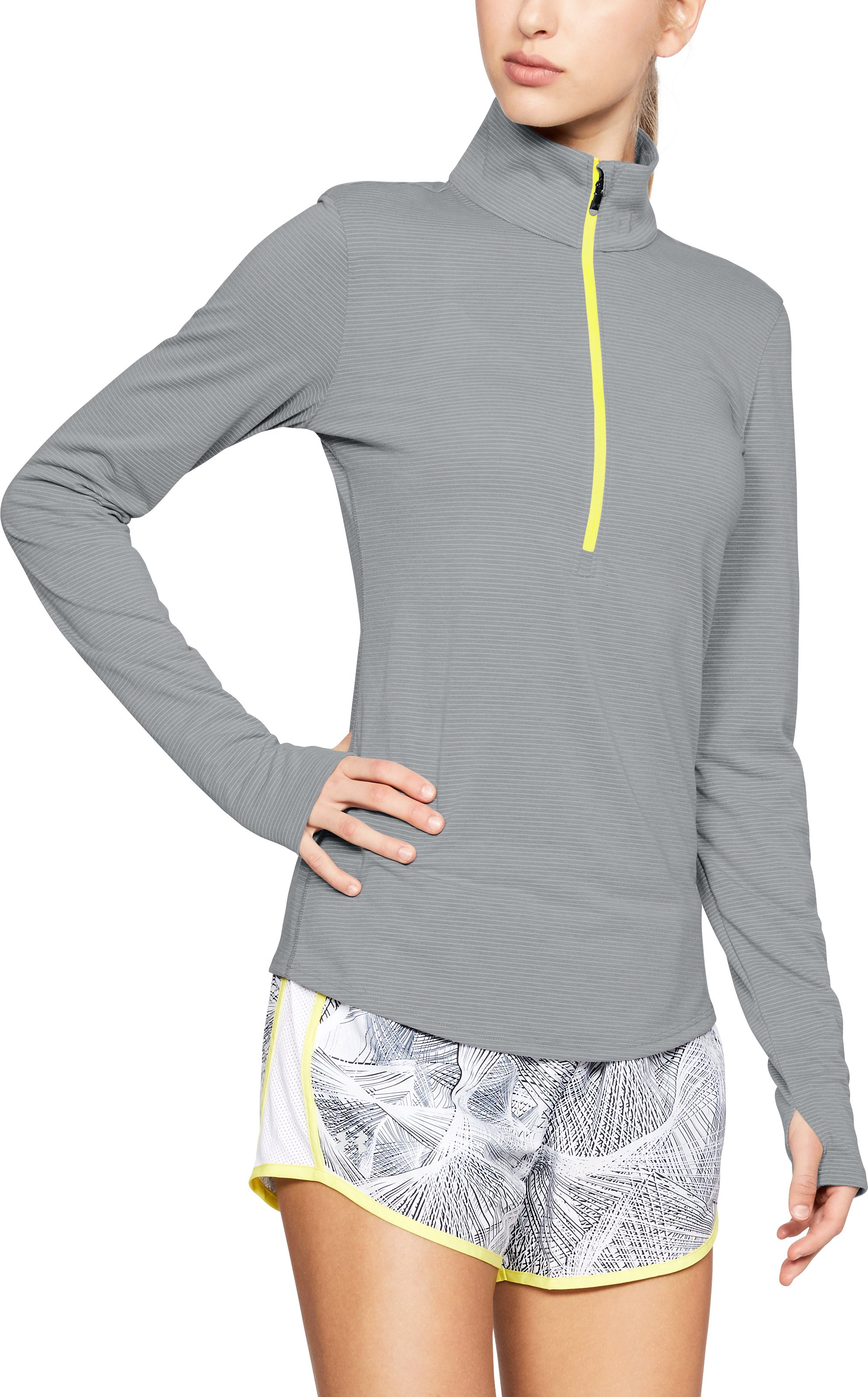 Women's UA Streaker 1/2 Zip, STEEL LIGHT HEATHER