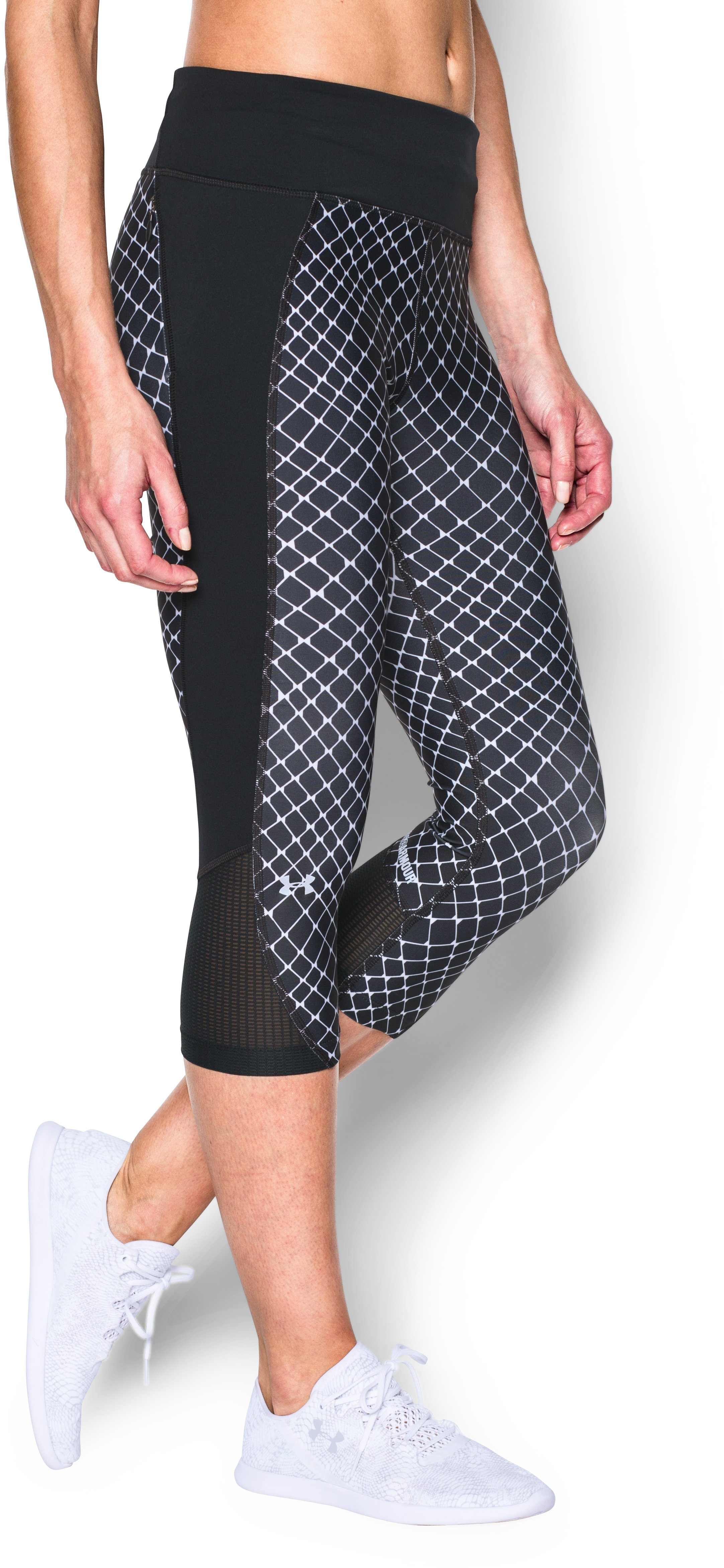 Women's UA Fly-By Printed Run Capri, Black , undefined