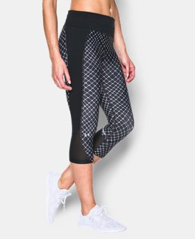 New to Outlet Women's UA Fly-By Printed Run Capri   $41.99