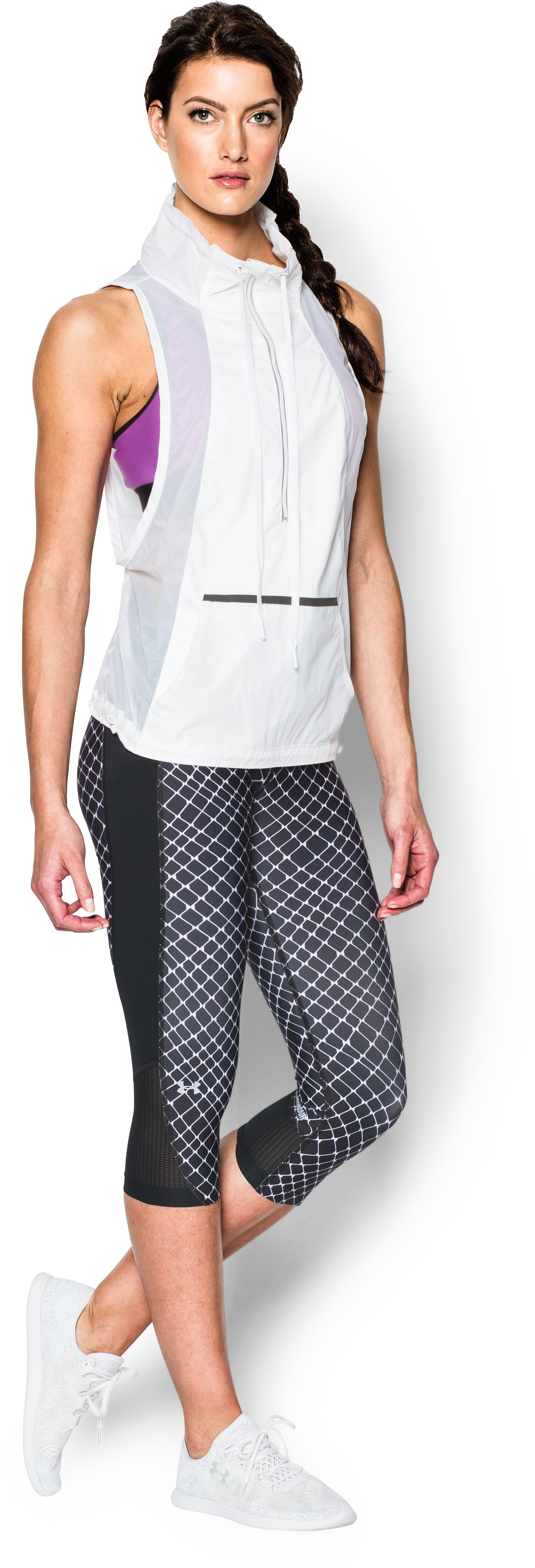 Women's UA Fly-By Printed Run Capri, Black , Front