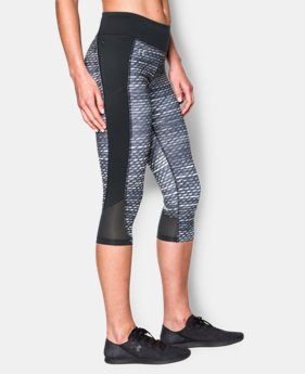 New to Outlet Women's UA Fly-By Printed Run Capri  1 Color $41.99
