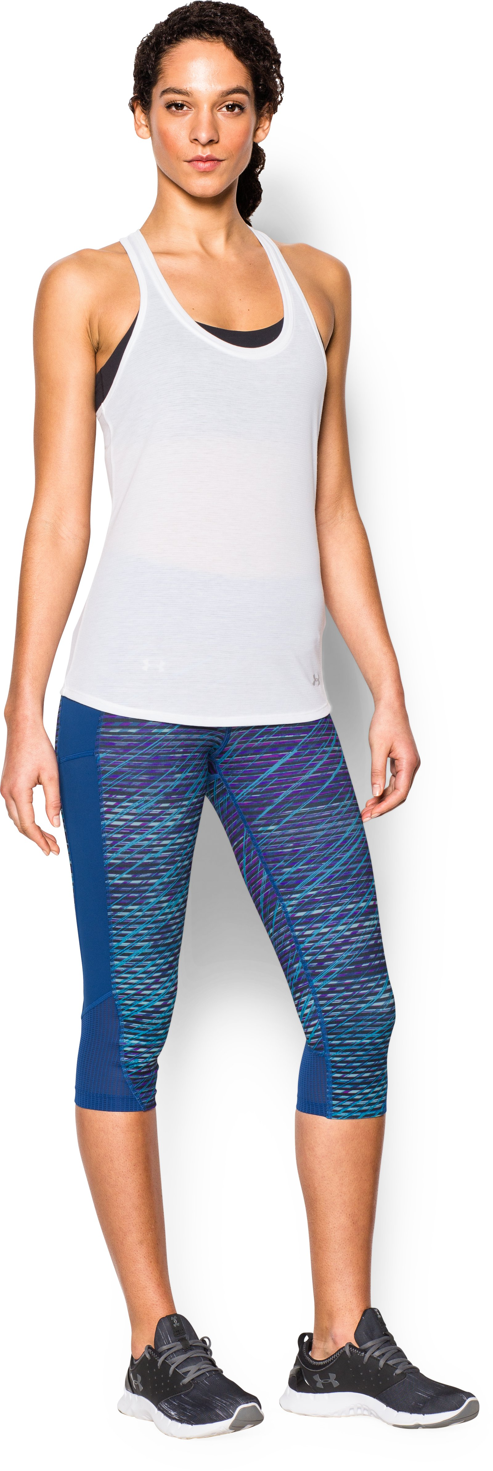 Women's UA Fly-By Printed Run Capri, SKY BLUE, Front