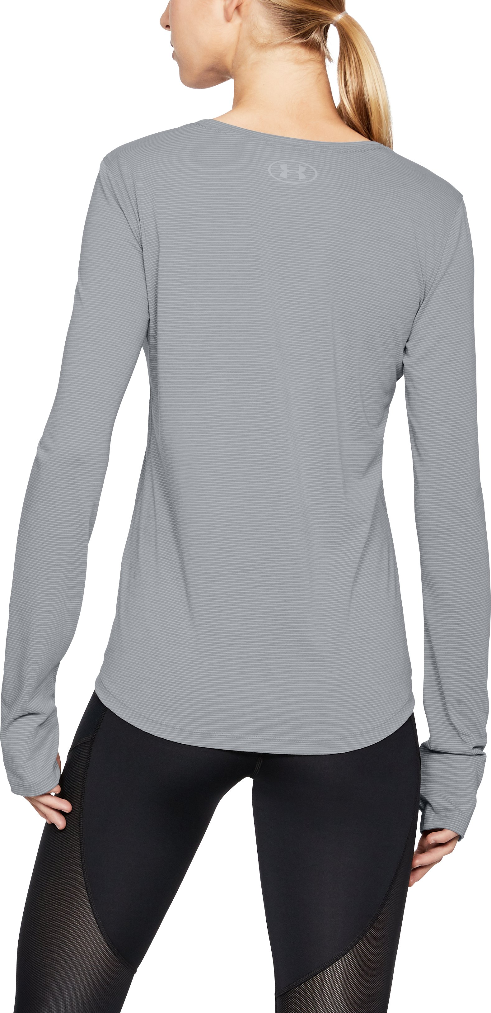 Women's UA Streaker Long Sleeve, STEEL LIGHT HEATHER,