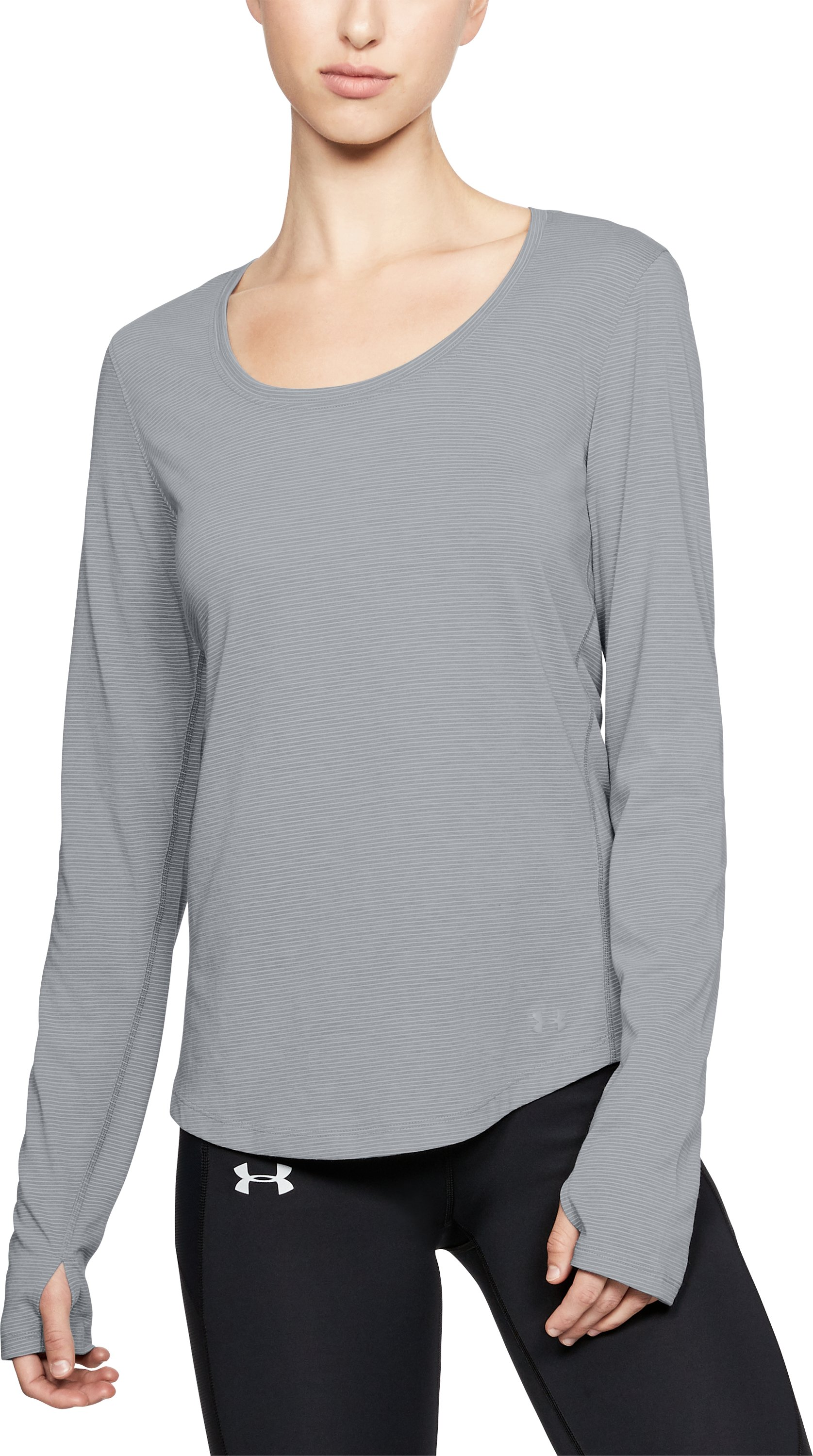 Women's UA Streaker Long Sleeve, STEEL LIGHT HEATHER
