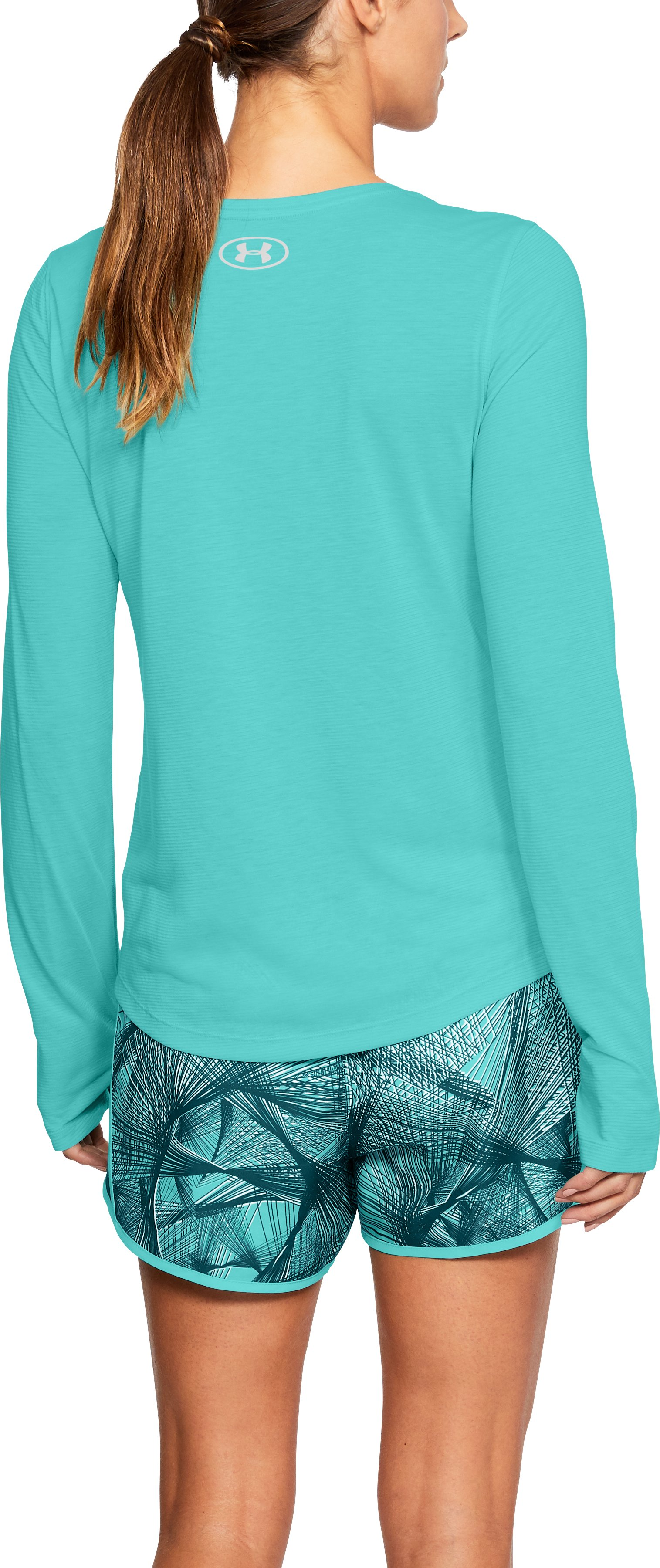 Women's UA Streaker Long Sleeve, TROPICAL TIDE, undefined