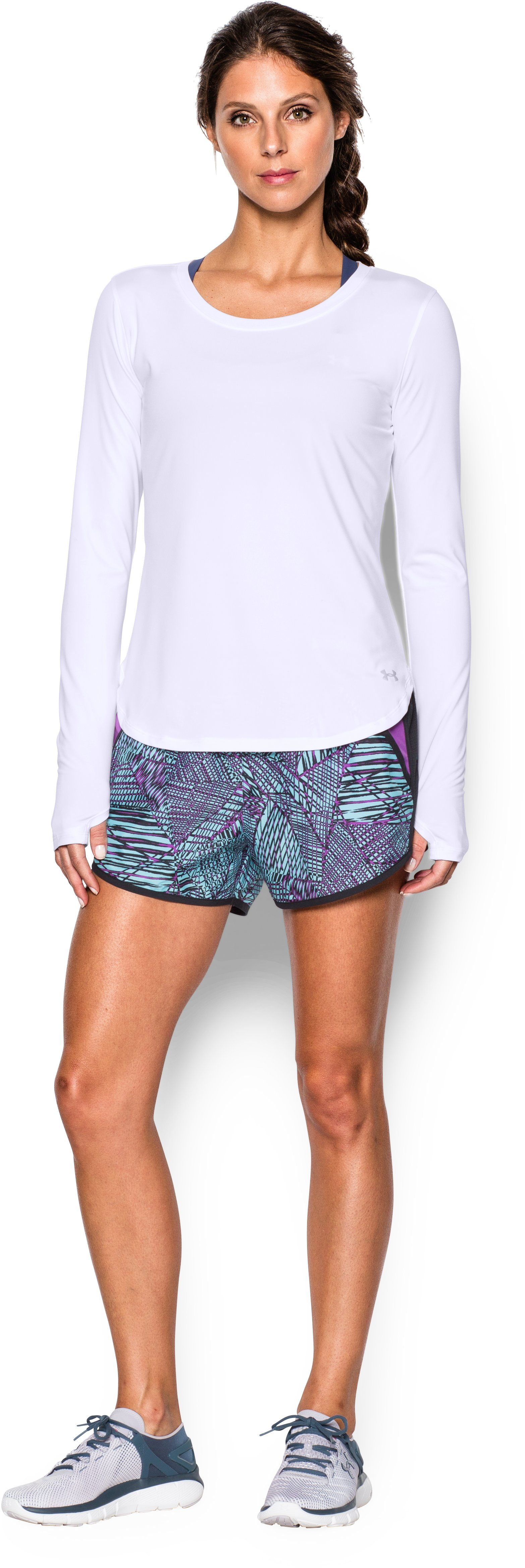 Women's UA Fly-By Solid Long Sleeve, White, Front
